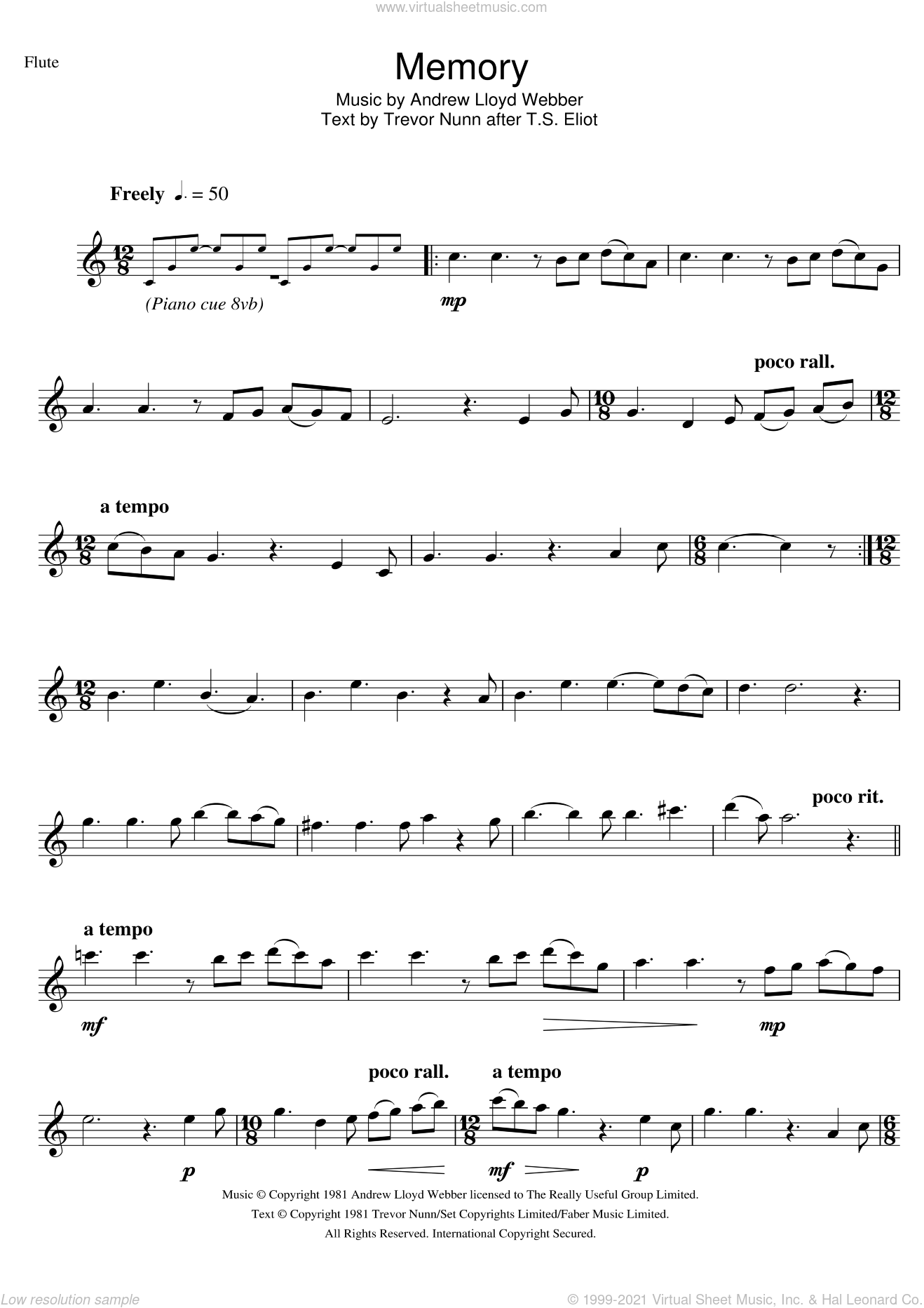 Memory (from Cats) sheet music for flute solo by Andrew Lloyd Webber and Trevor Nunn, intermediate skill level
