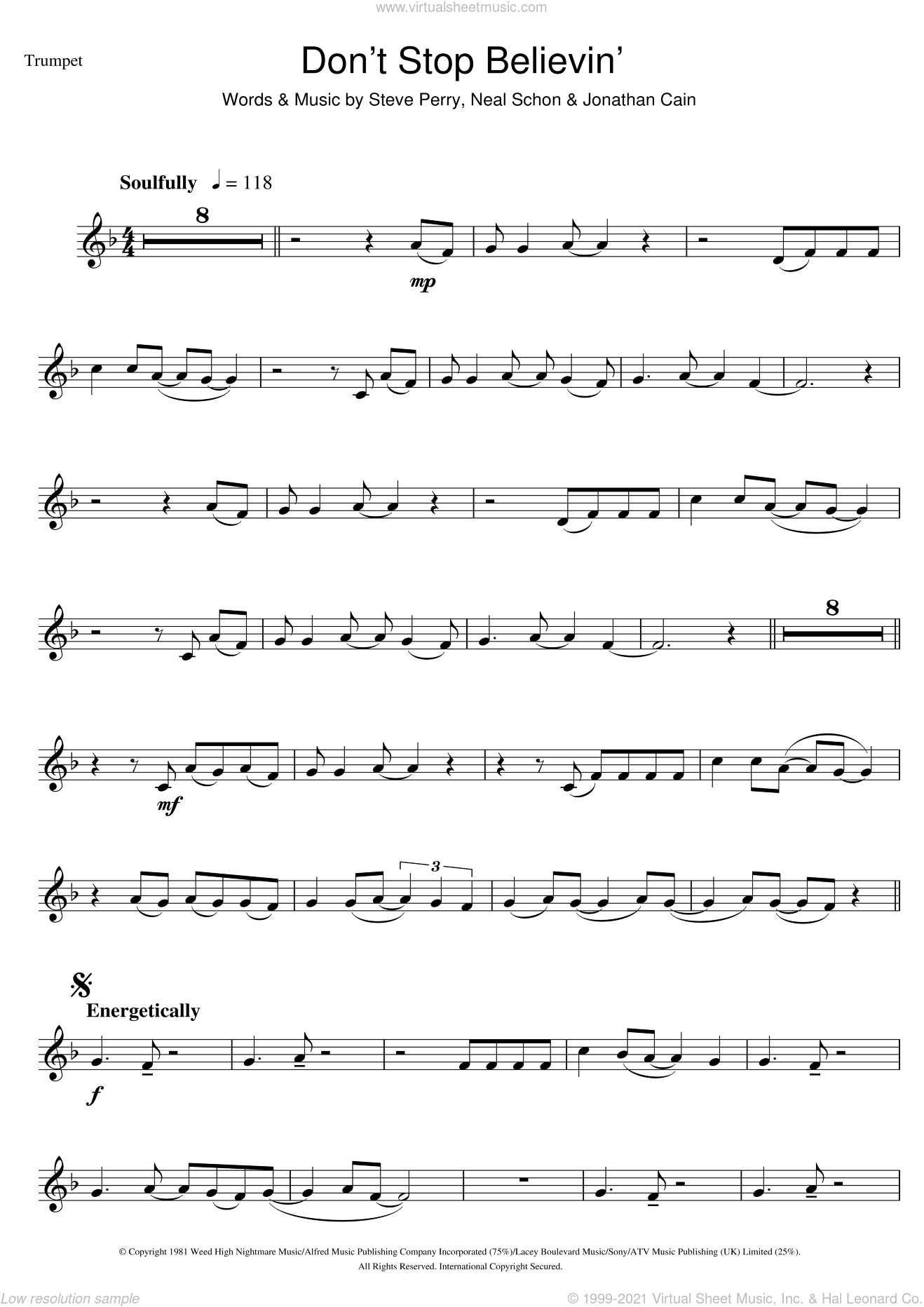 Don't Stop Believin' sheet music for trumpet solo by Journey, Glee Cast, Jonathan Cain, Neal Schon and Steve Perry, intermediate. Score Image Preview.