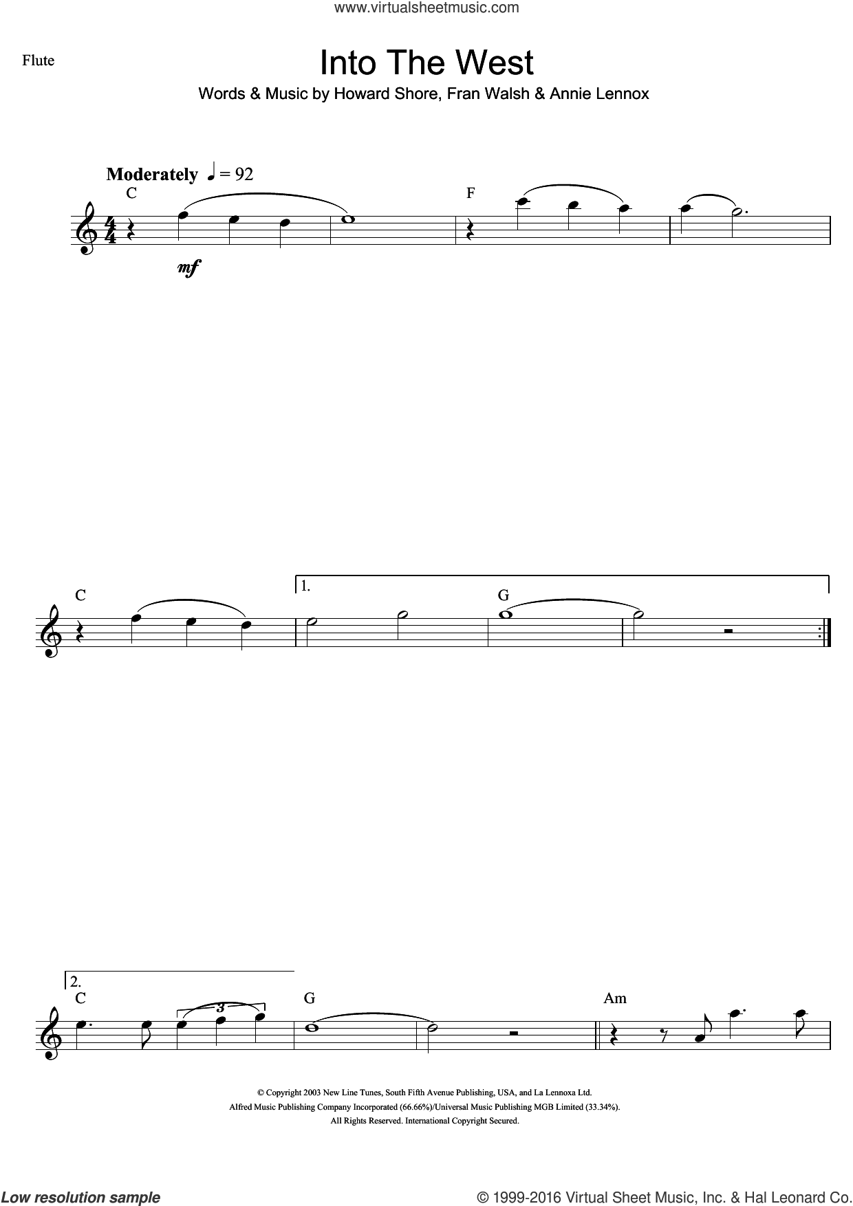 Into The West (from The Lord Of The Rings: The Return Of The King) sheet music for flute solo by Annie Lennox, Fran Walsh and Howard Shore, intermediate skill level