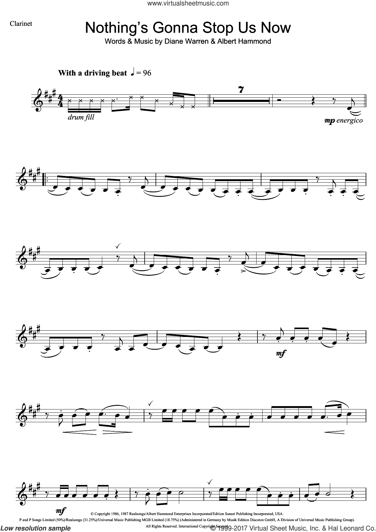 Nothing's Gonna Stop Us Now sheet music for clarinet solo by Starship, Albert Hammond and Diane Warren, intermediate skill level