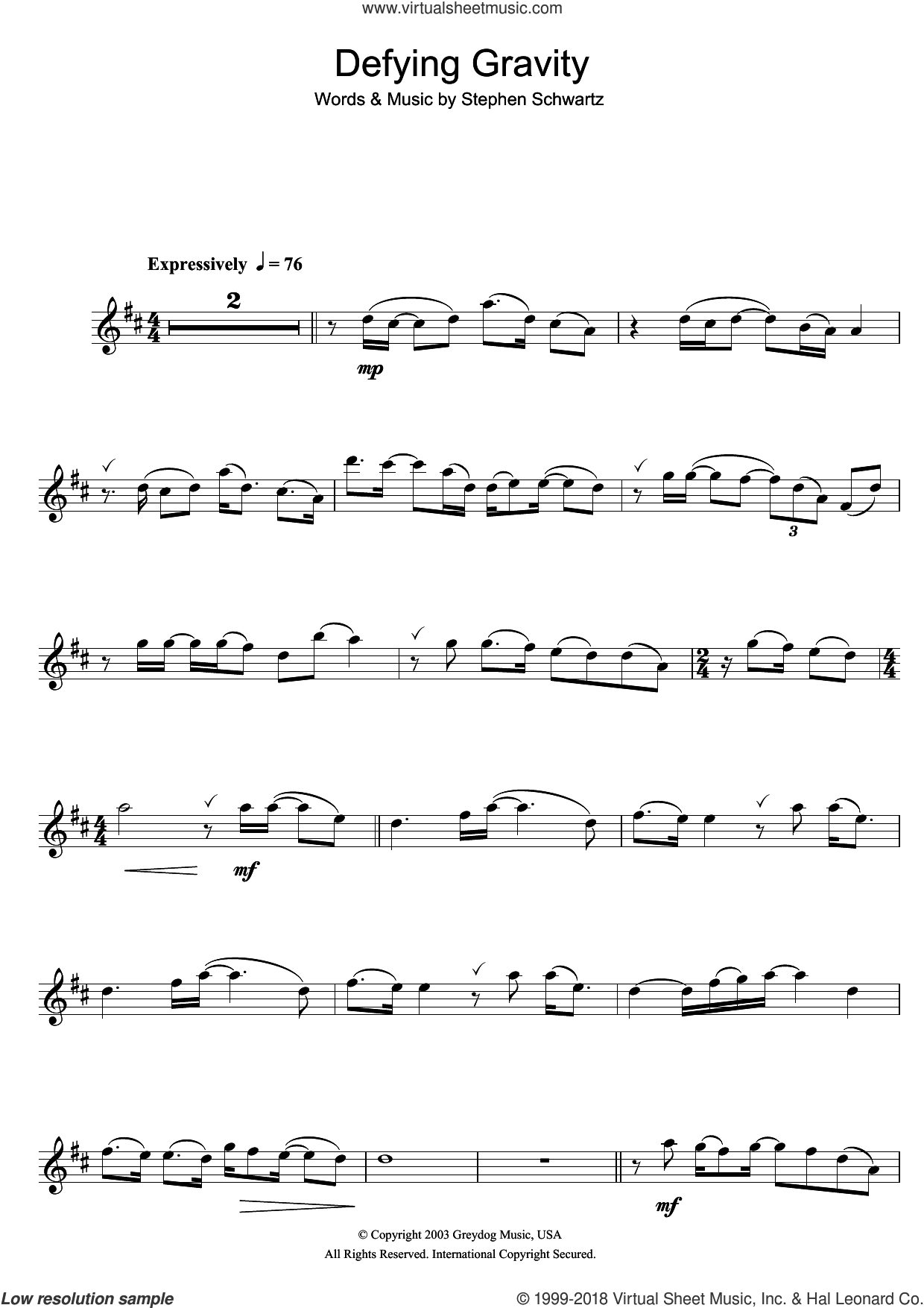 Defying Gravity (from the Broadway Musical Wicked) sheet music for flute solo by Glee Cast and Stephen Schwartz, intermediate skill level