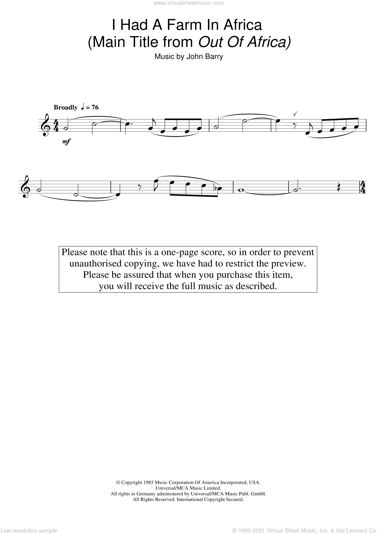 I Had A Farm In Africa (Main Title from Out Of Africa) sheet music for flute solo by John Barry, intermediate skill level