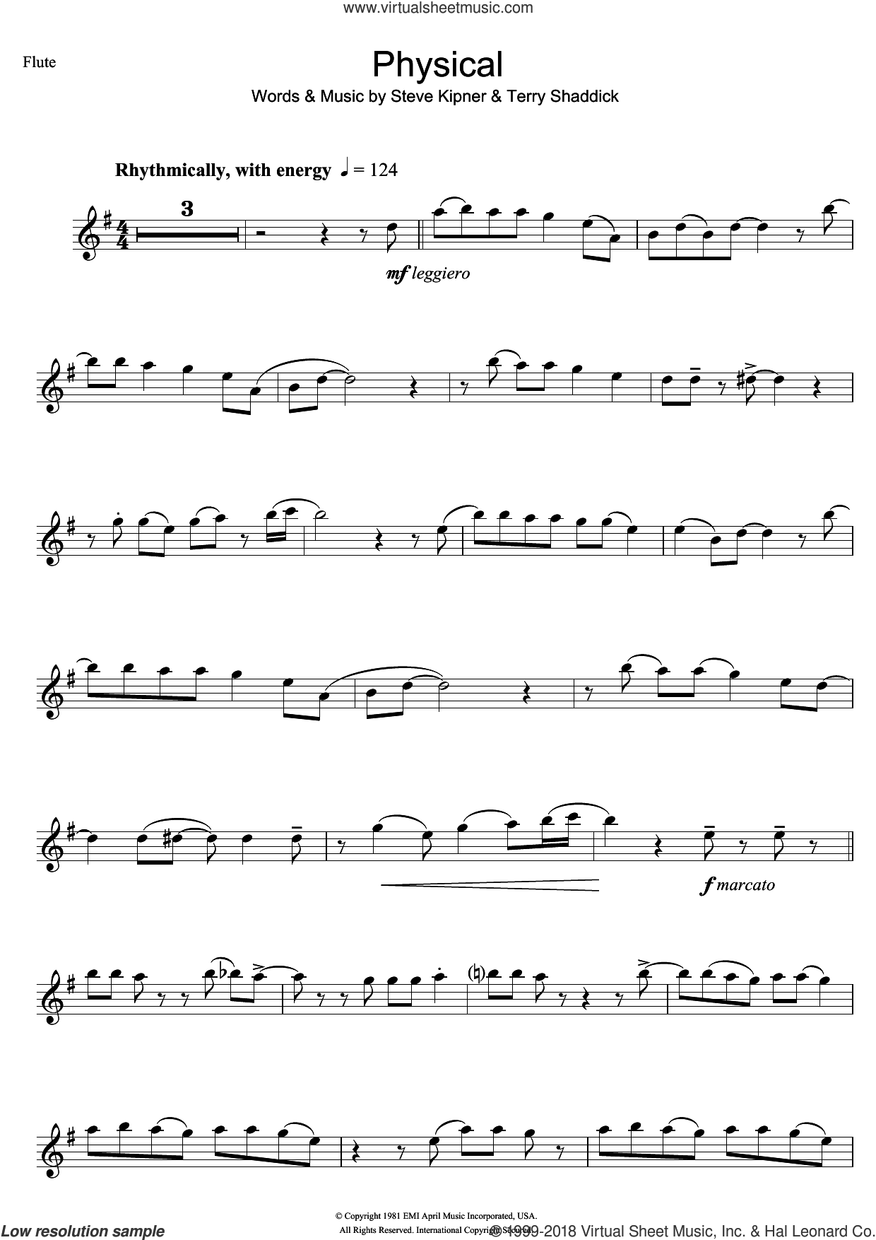 Physical sheet music for flute solo by Terry Shaddick, Glee Cast and Steve Kipner. Score Image Preview.