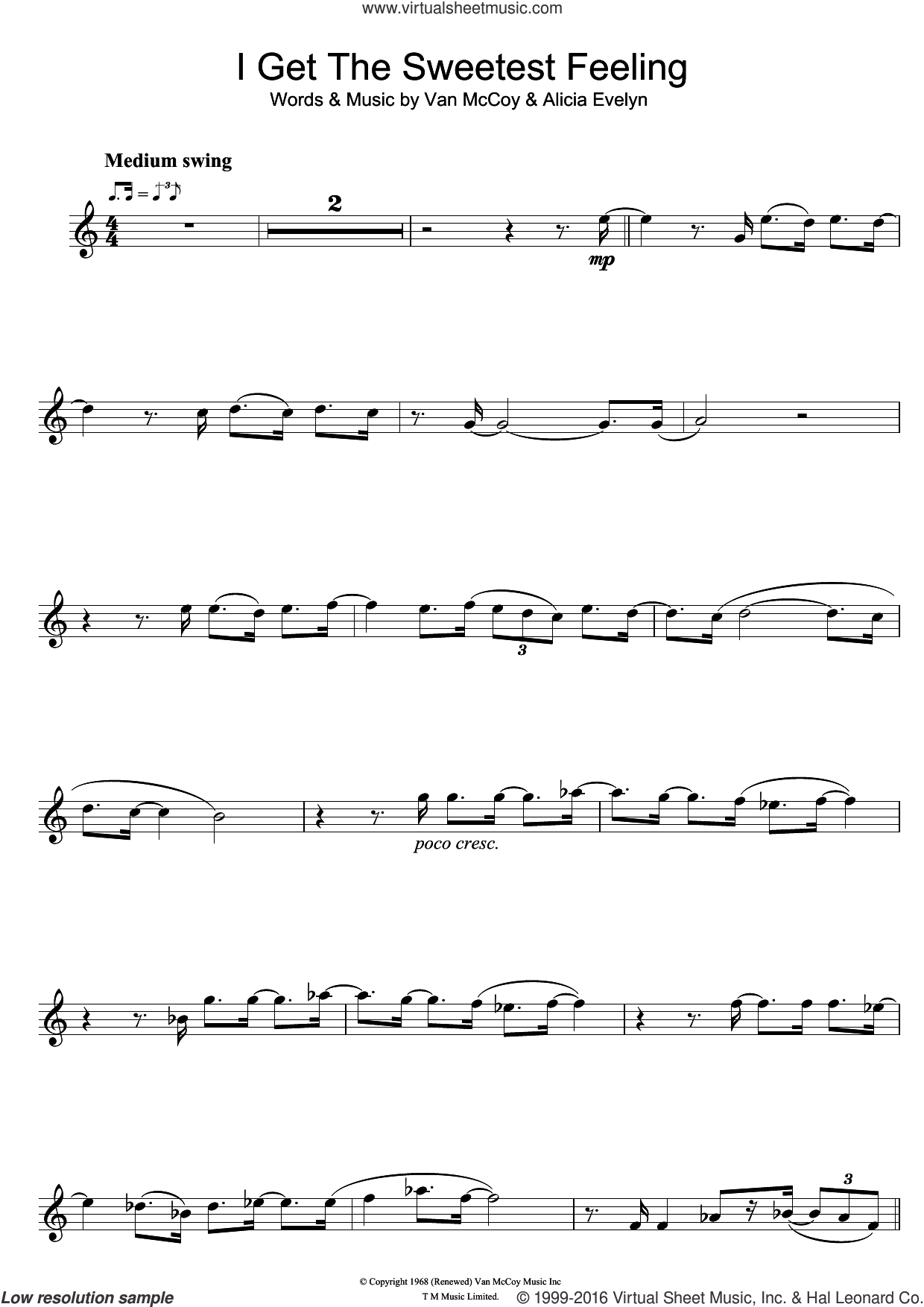 I Get The Sweetest Feeling sheet music for trumpet solo by Jackie Wilson, Alicia Evelyn and Van McCoy, intermediate