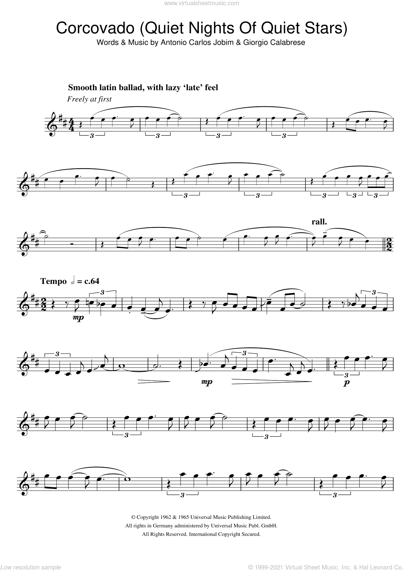 Corcovado (Quiet Nights Of Quiet Stars) sheet music for tenor saxophone solo by Antonio Carlos Jobim and Giorgio Calabrese, intermediate skill level
