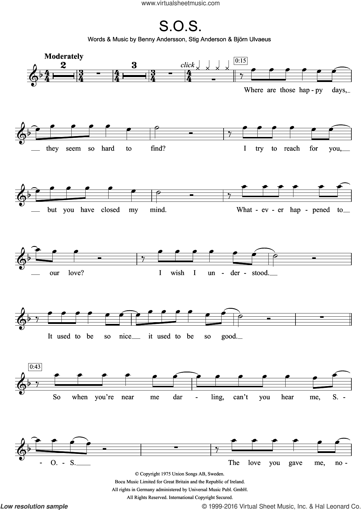S.O.S. sheet music for violin solo by Stig Anderson, ABBA, Benny Andersson and Bjorn Ulvaeus. Score Image Preview.