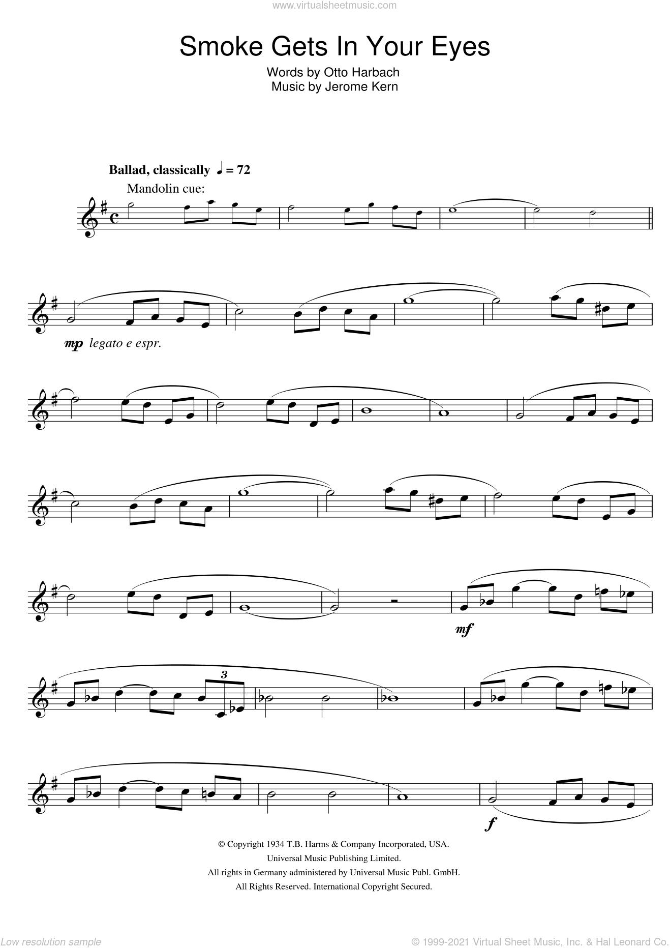 Smoke Gets In Your Eyes sheet music for clarinet solo by Jerome Kern and Otto Harbach, intermediate skill level