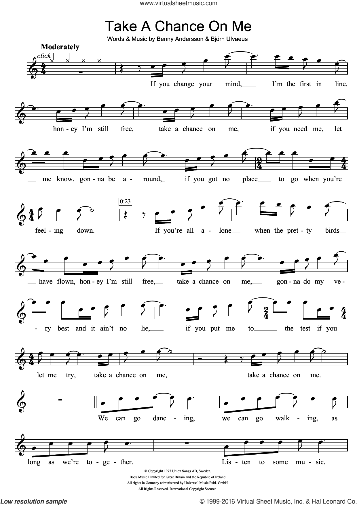 Take A Chance On Me sheet music for flute solo by Bjorn Ulvaeus, ABBA and Benny Andersson. Score Image Preview.