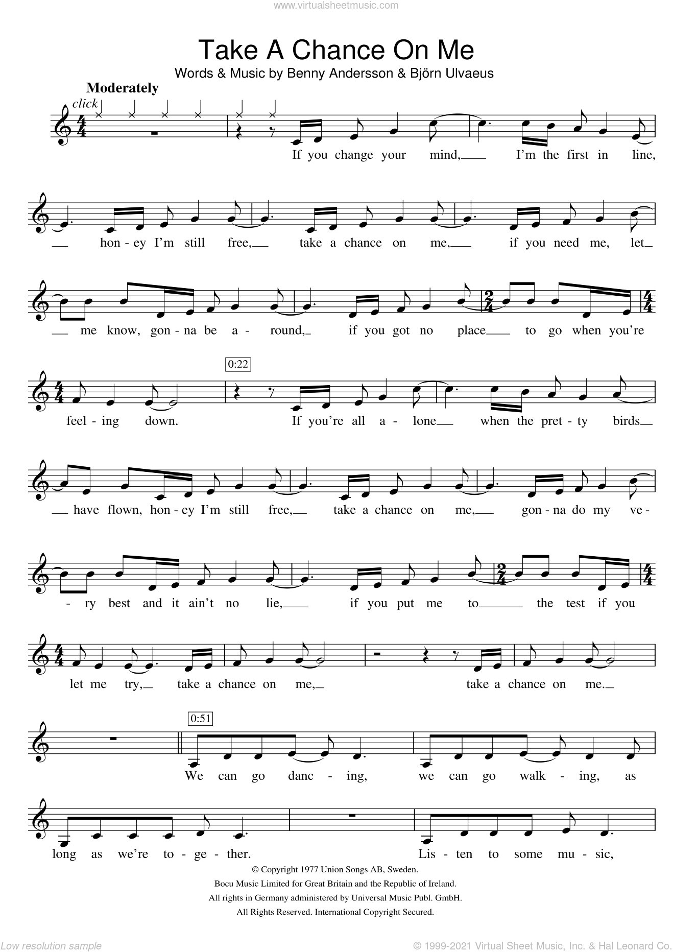 Take A Chance On Me sheet music for violin solo by ABBA, Benny Andersson and Bjorn Ulvaeus, intermediate violin. Score Image Preview.
