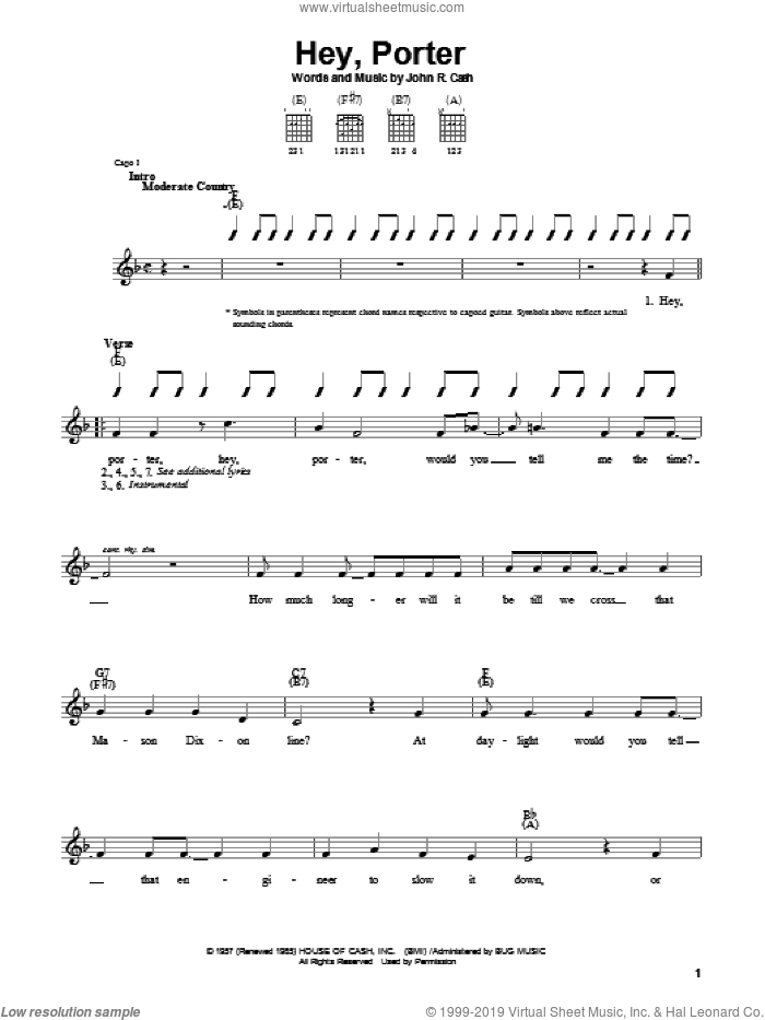 Hey, Porter sheet music for guitar solo (chords) by Johnny Cash, easy guitar (chords)