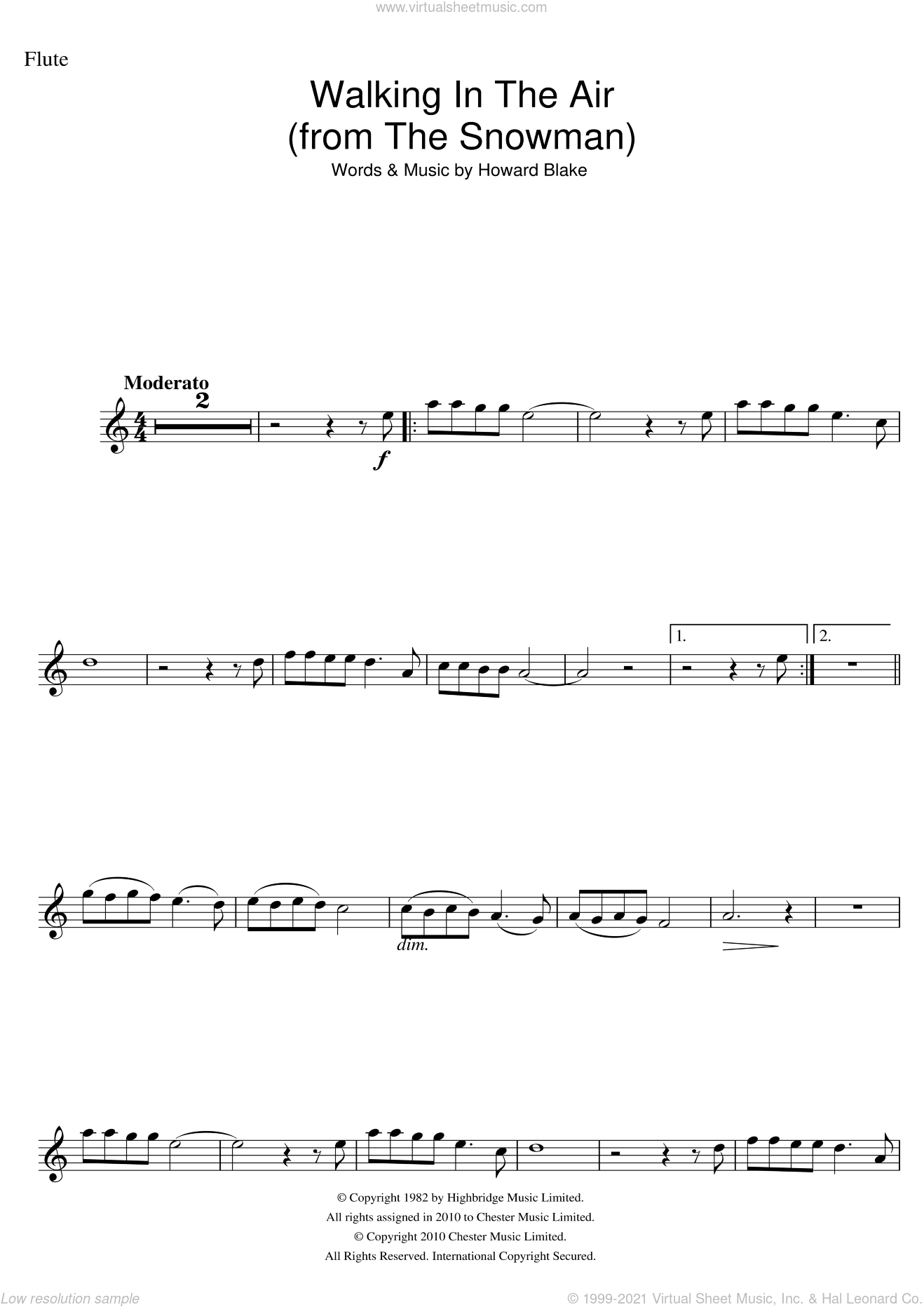 Walking In The Air (theme from The Snowman) sheet music for flute solo by Howard Blake, intermediate skill level