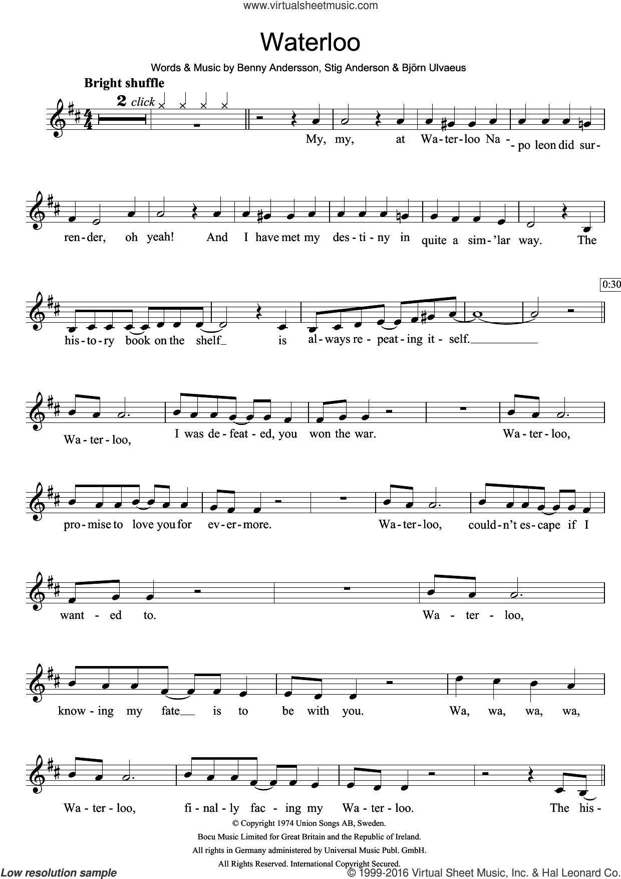 Waterloo sheet music for clarinet solo by ABBA, Benny Andersson, Bjorn Ulvaeus and Stig Anderson, intermediate skill level