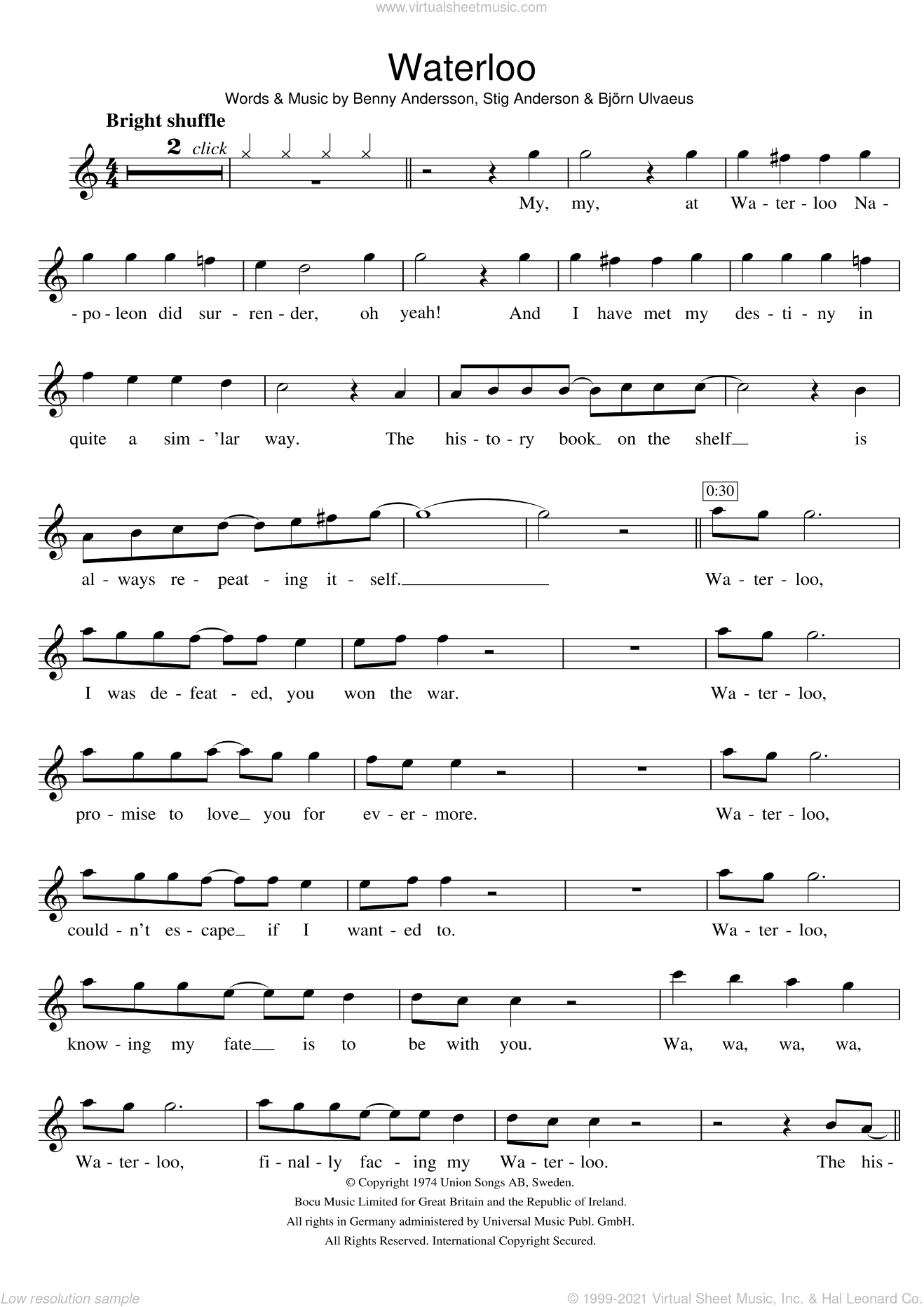 Waterloo sheet music for violin solo by Stig Anderson, ABBA, Benny Andersson and Bjorn Ulvaeus. Score Image Preview.