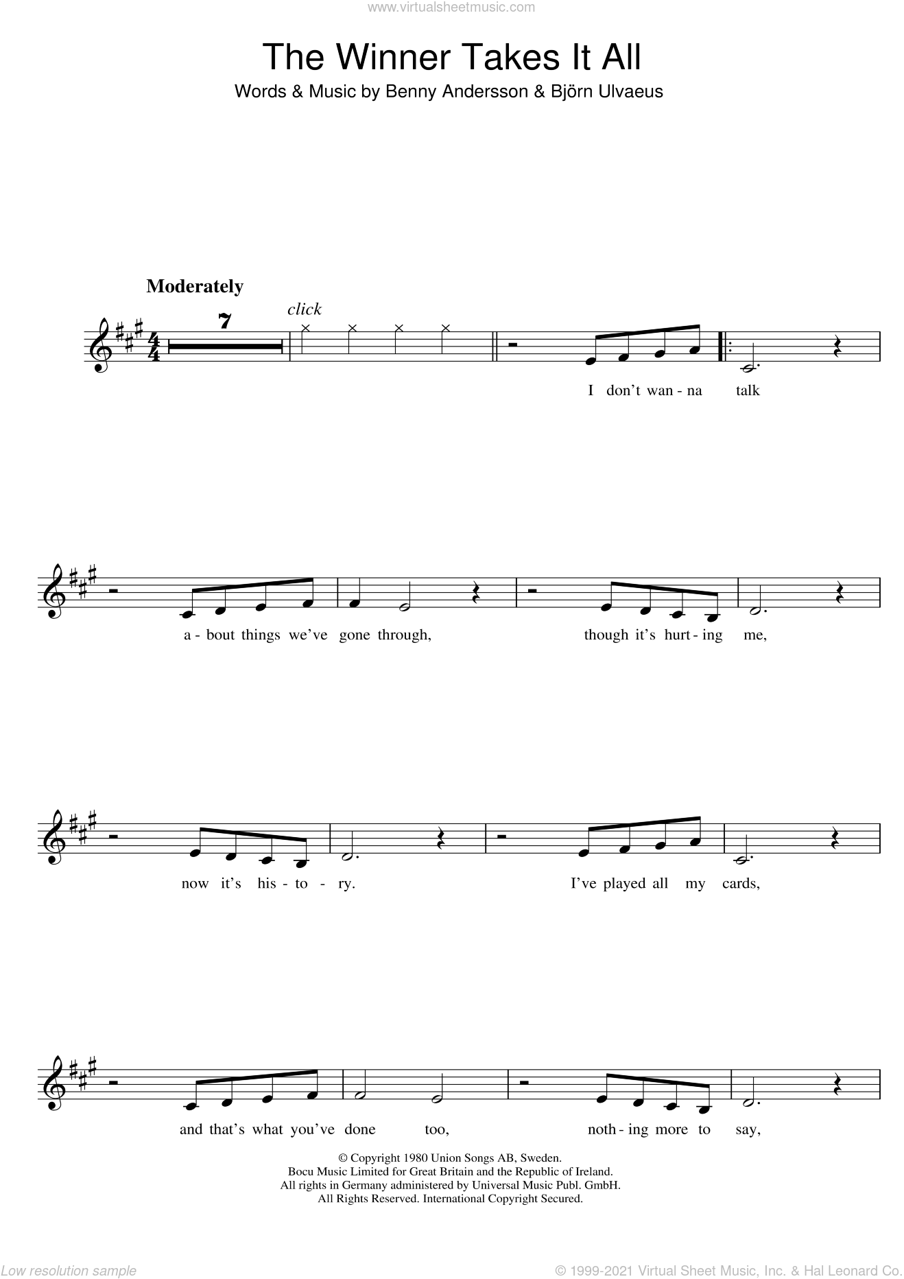 The Winner Takes It All sheet music for clarinet solo by ABBA, Benny Andersson and Bjorn Ulvaeus, intermediate skill level
