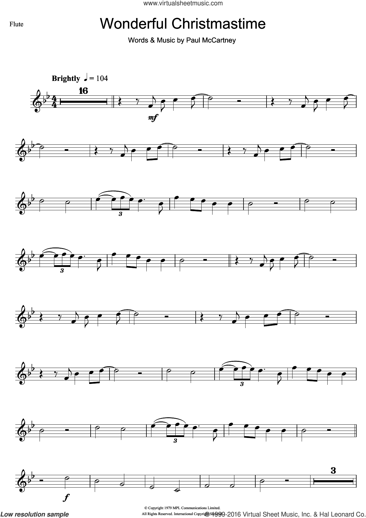 Wonderful Christmastime sheet music for flute solo by Paul McCartney. Score Image Preview.