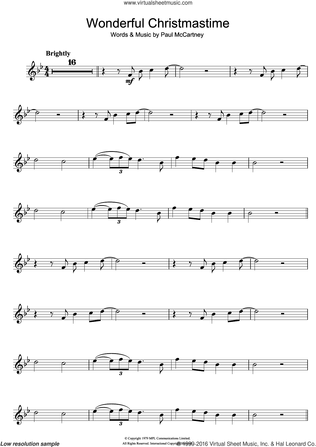 Wonderful Christmastime sheet music for violin solo by Paul McCartney, intermediate skill level