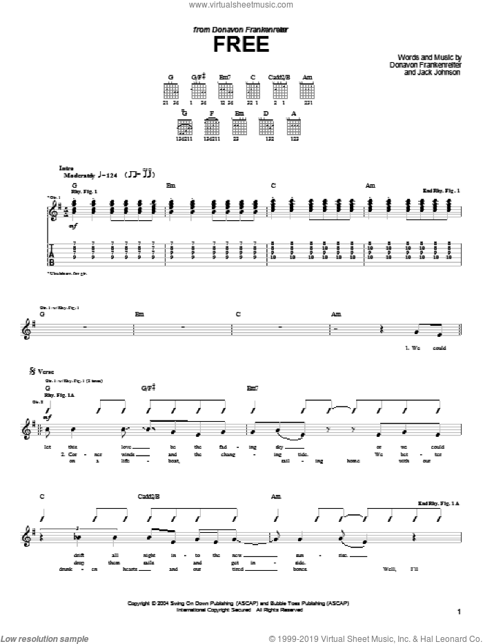 Free sheet music for guitar (tablature) by Donavon Frankenreiter and Jack Johnson. Score Image Preview.