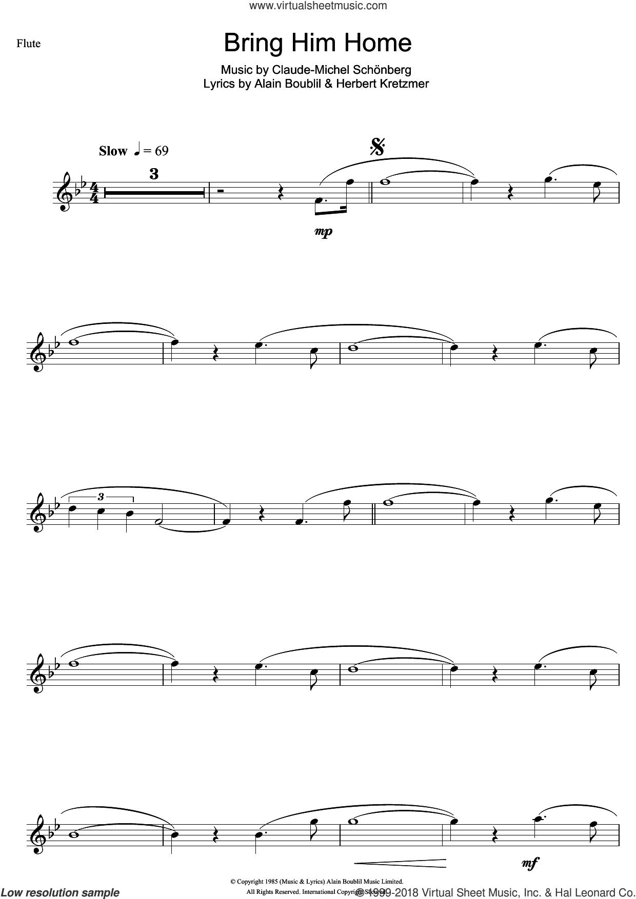Bring Him Home (from Les Miserables) sheet music for flute solo by Claude-Michel Schonberg, Alain Boublil and Herbert Kretzmer, intermediate skill level