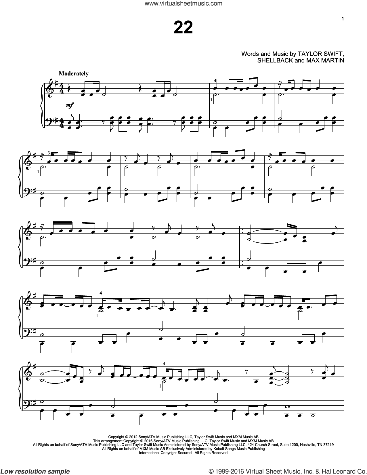 22 sheet music for piano solo by Taylor Swift, Max Martin and Shellback, intermediate skill level