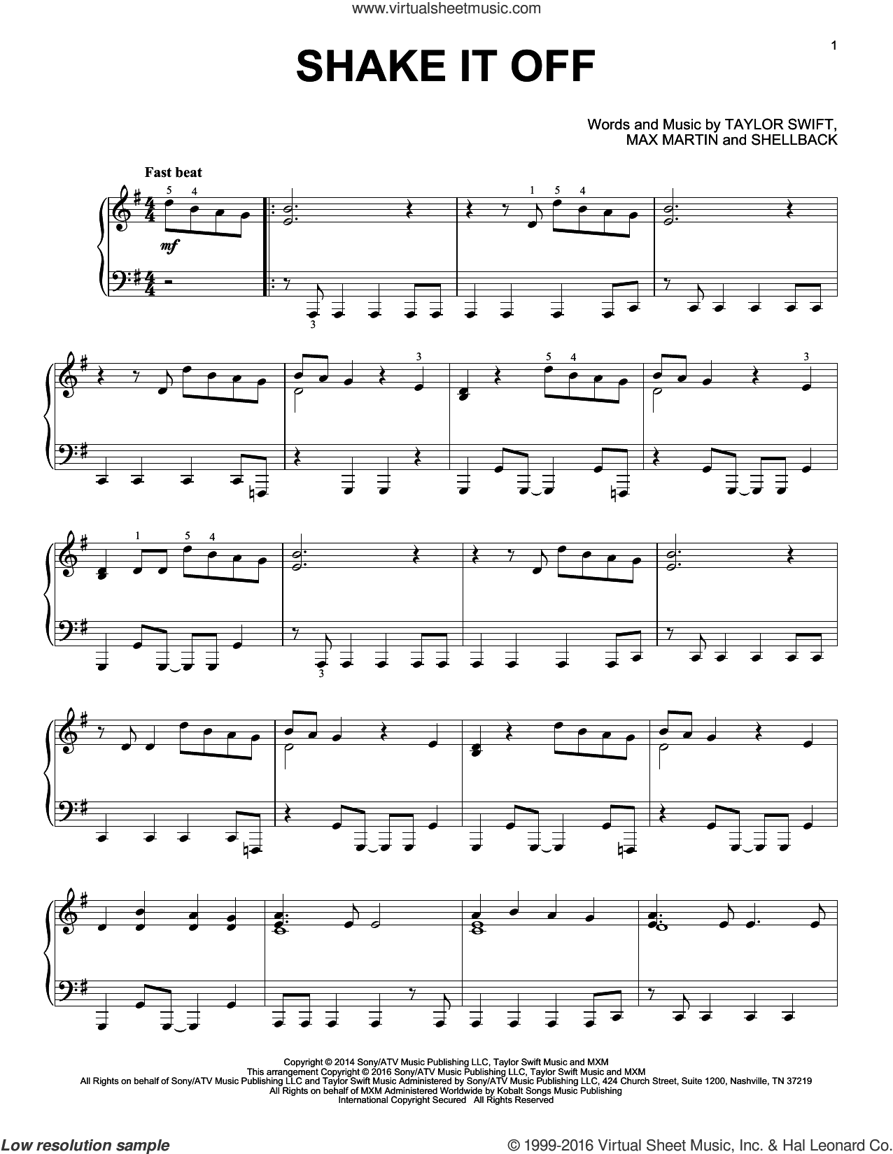 Shake It Off sheet music for piano solo by Taylor Swift, Johan Schuster, Max Martin and Shellback, intermediate skill level