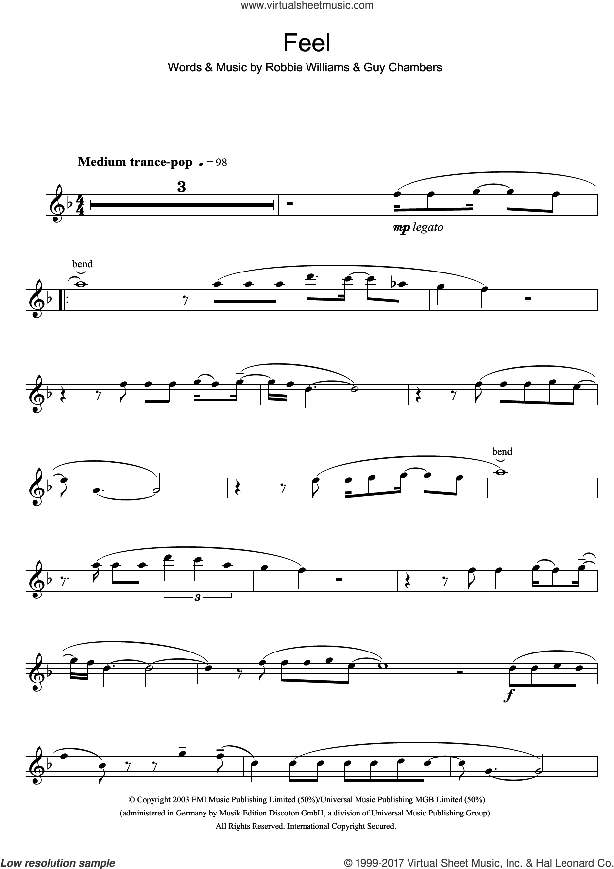 Feel sheet music for flute solo by Robbie Williams and Guy Chambers, intermediate skill level