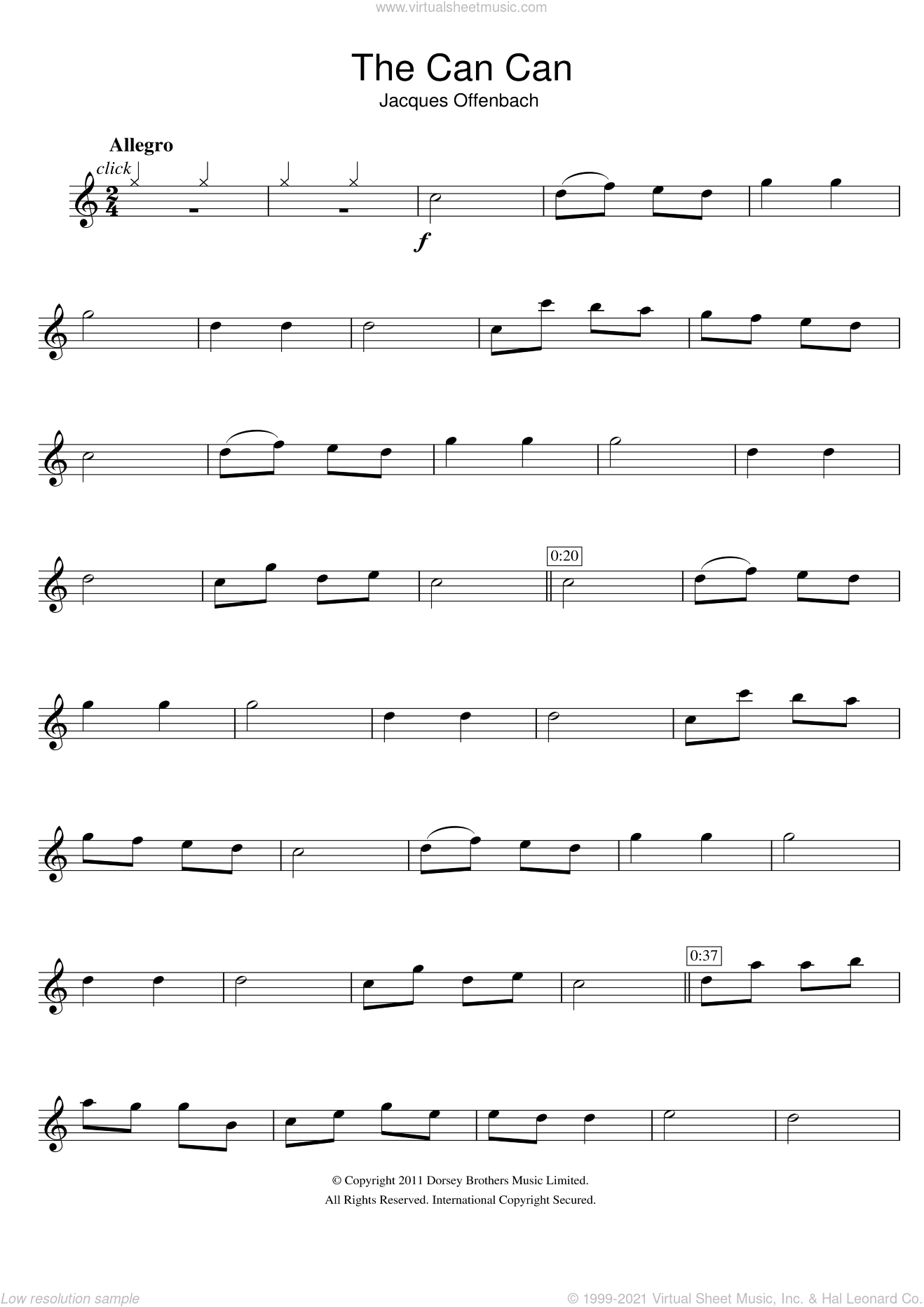 The Can Can sheet music for flute solo by Jacques Offenbach, classical score, intermediate. Score Image Preview.