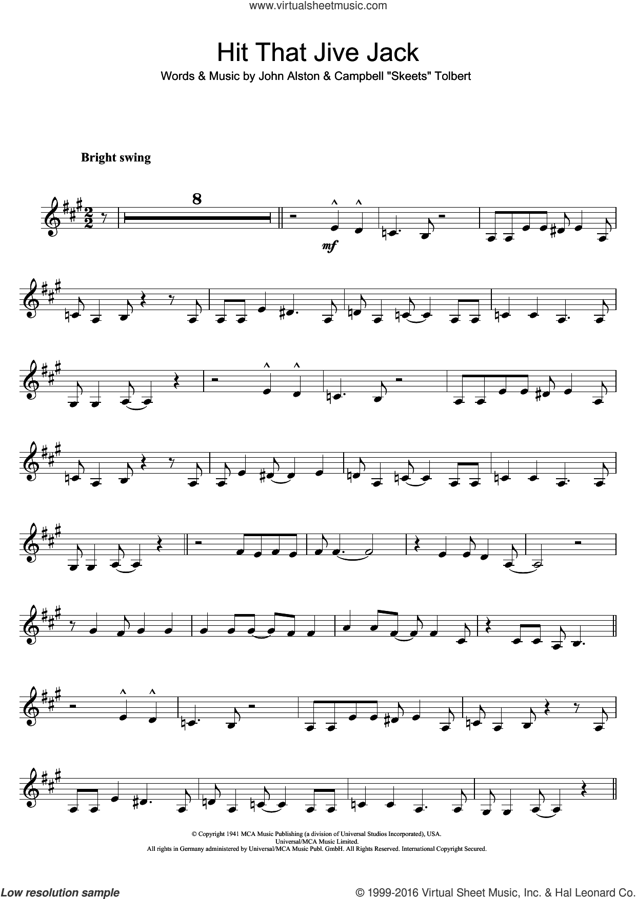 Hit That Jive Jack sheet music for clarinet solo by John Alston and Diana Krall. Score Image Preview.