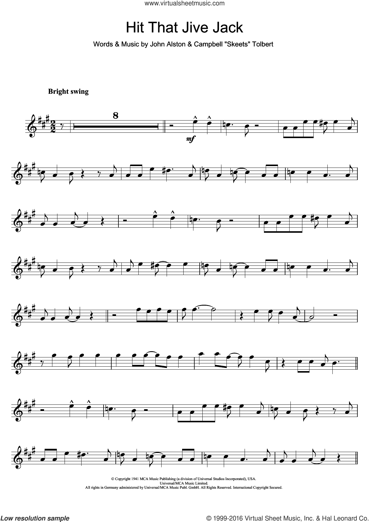 Hit That Jive Jack sheet music for trumpet solo by John Alston and Diana Krall. Score Image Preview.