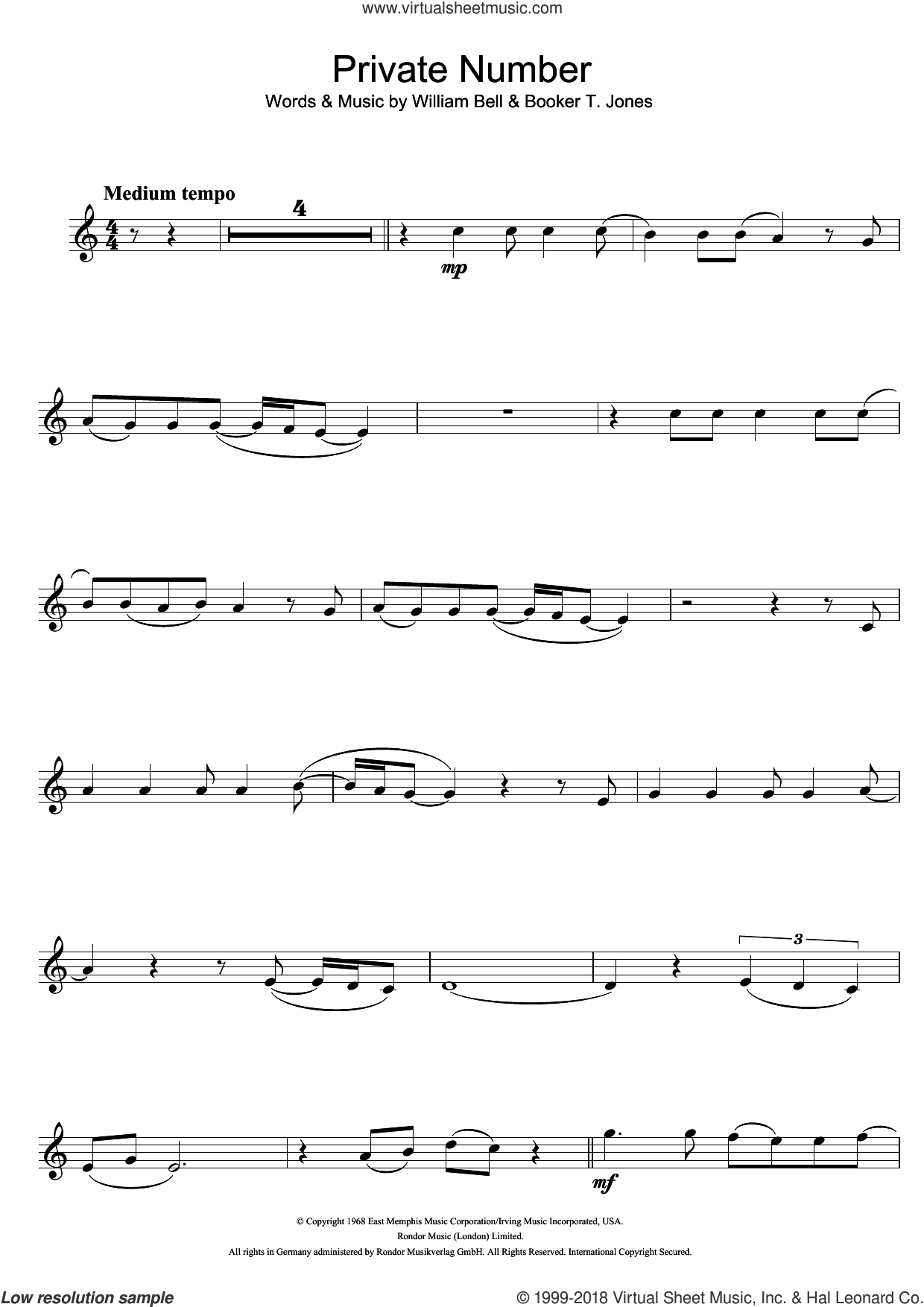 Private Number sheet music for flute solo by Booker T. Jones and William Bell. Score Image Preview.