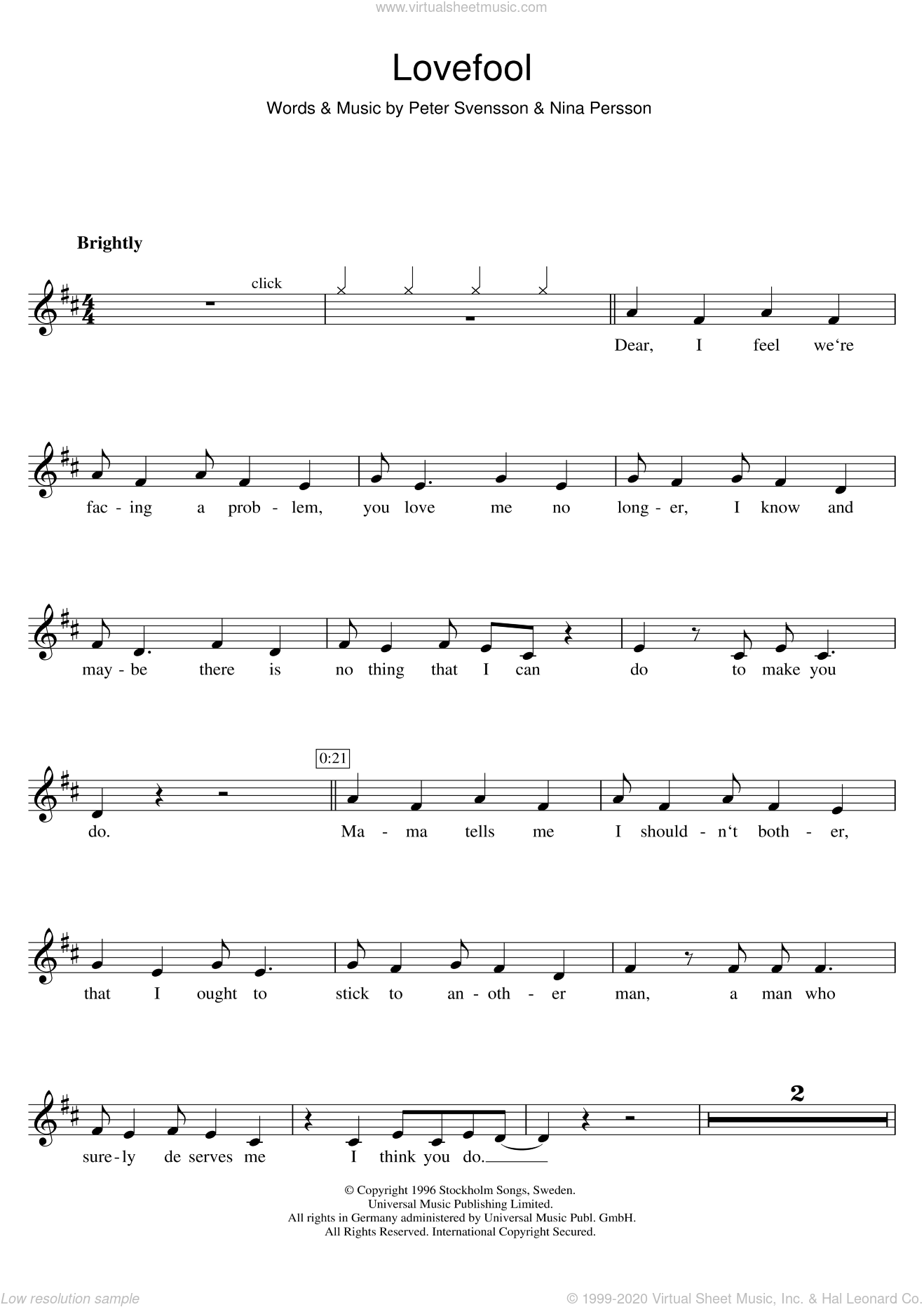 Lovefool sheet music for clarinet solo by Peter Svensson, The Cardigans and Nina Persson. Score Image Preview.
