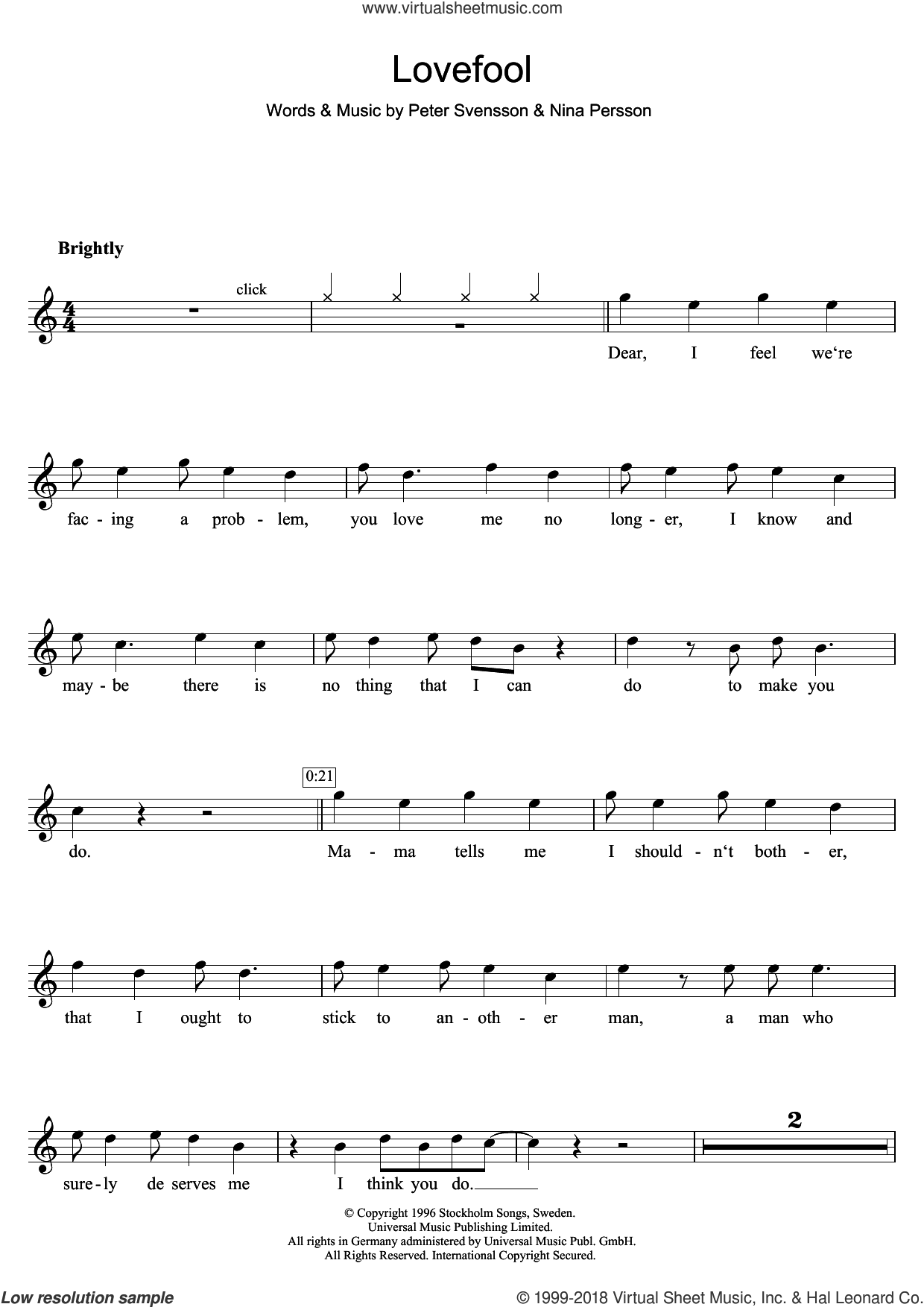 Lovefool sheet music for flute solo by The Cardigans and Peter Svensson. Score Image Preview.