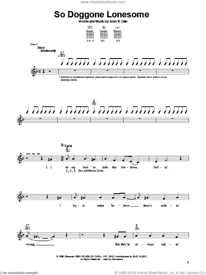 So Doggone Lonesome sheet music for guitar solo (chords) by Johnny Cash, easy guitar (chords)