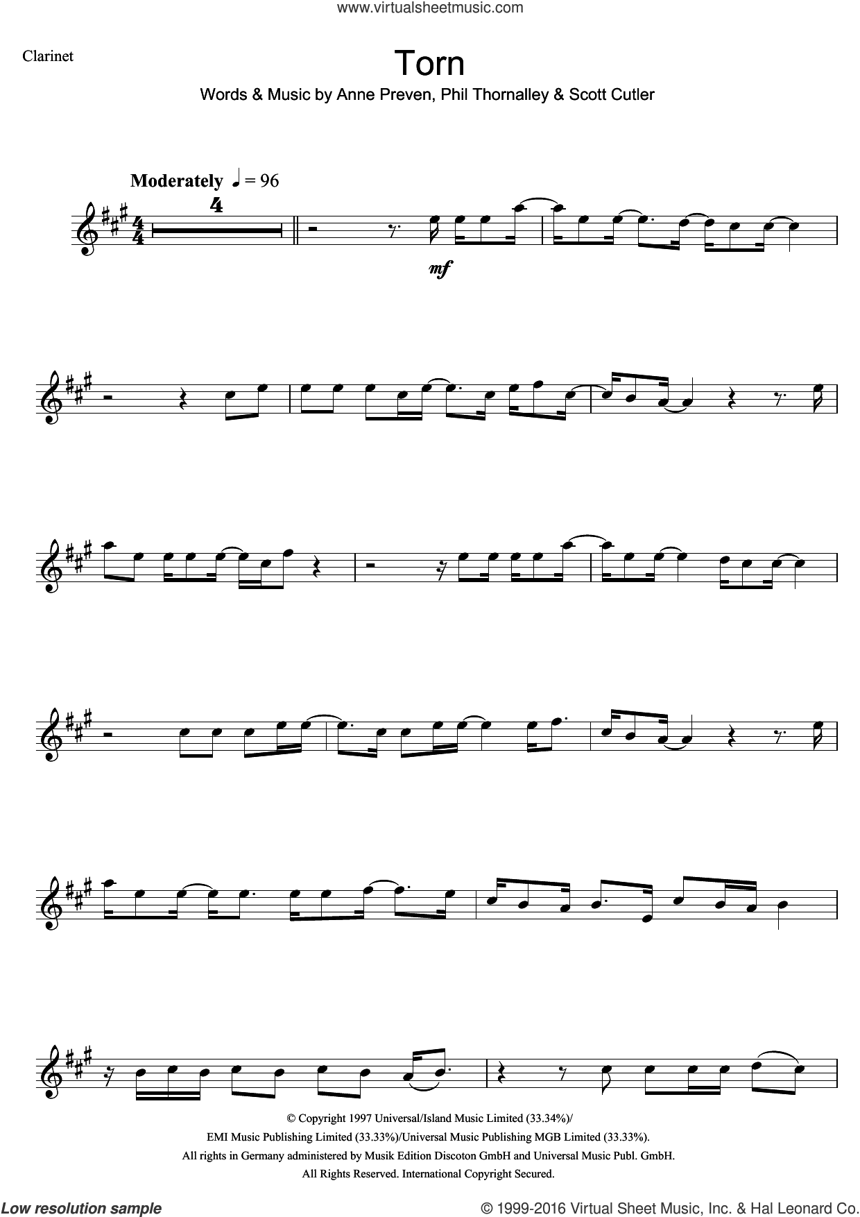 Torn sheet music for clarinet solo by Scott Cutler, Natalie Imbruglia, Anne Preven and Phil Thornalley. Score Image Preview.