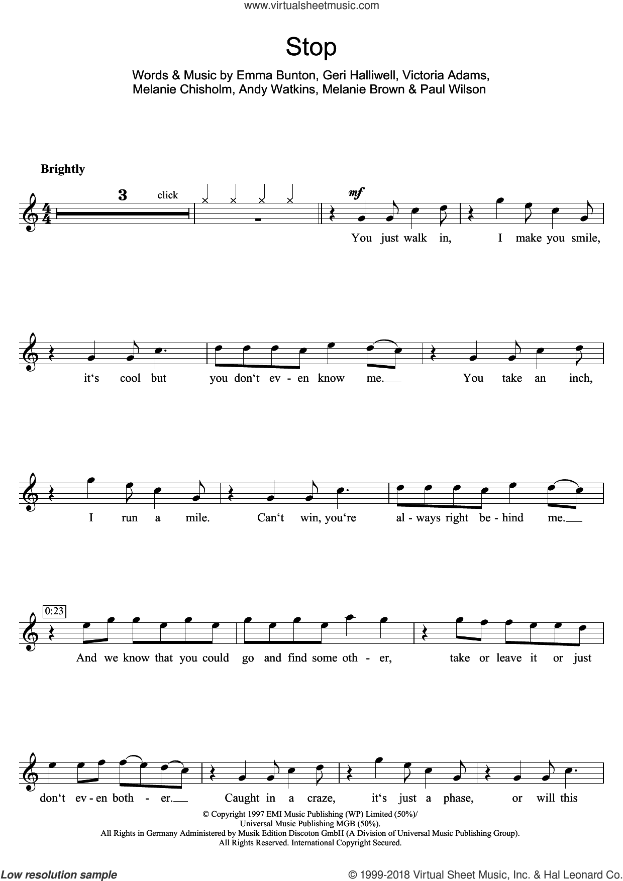 Stop sheet music for flute solo by Spice Girls, Chisholm Melanie, Emma Bunton and Geri Halliwell, intermediate. Score Image Preview.