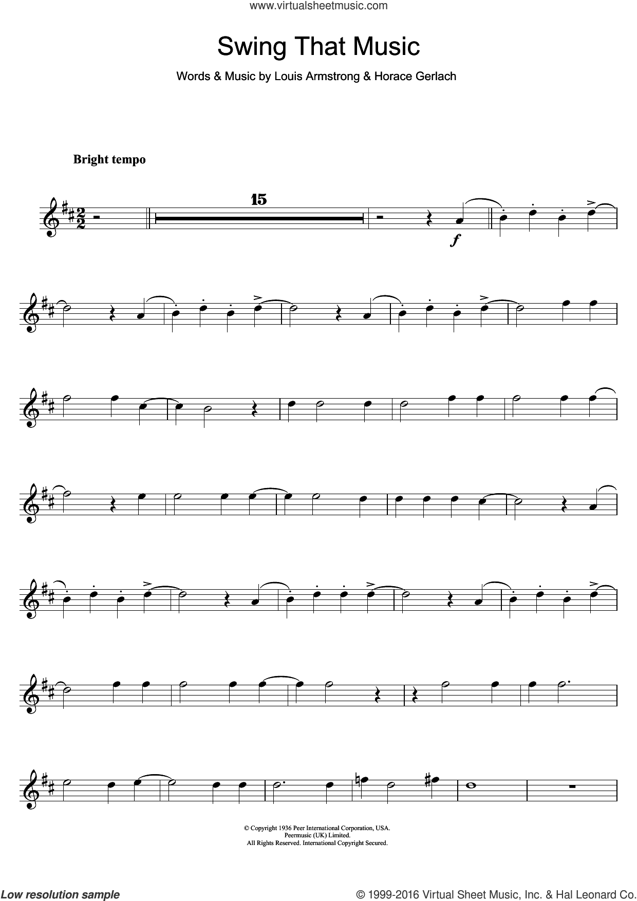 Swing That Music sheet music for clarinet solo by Louis Armstrong, intermediate. Score Image Preview.
