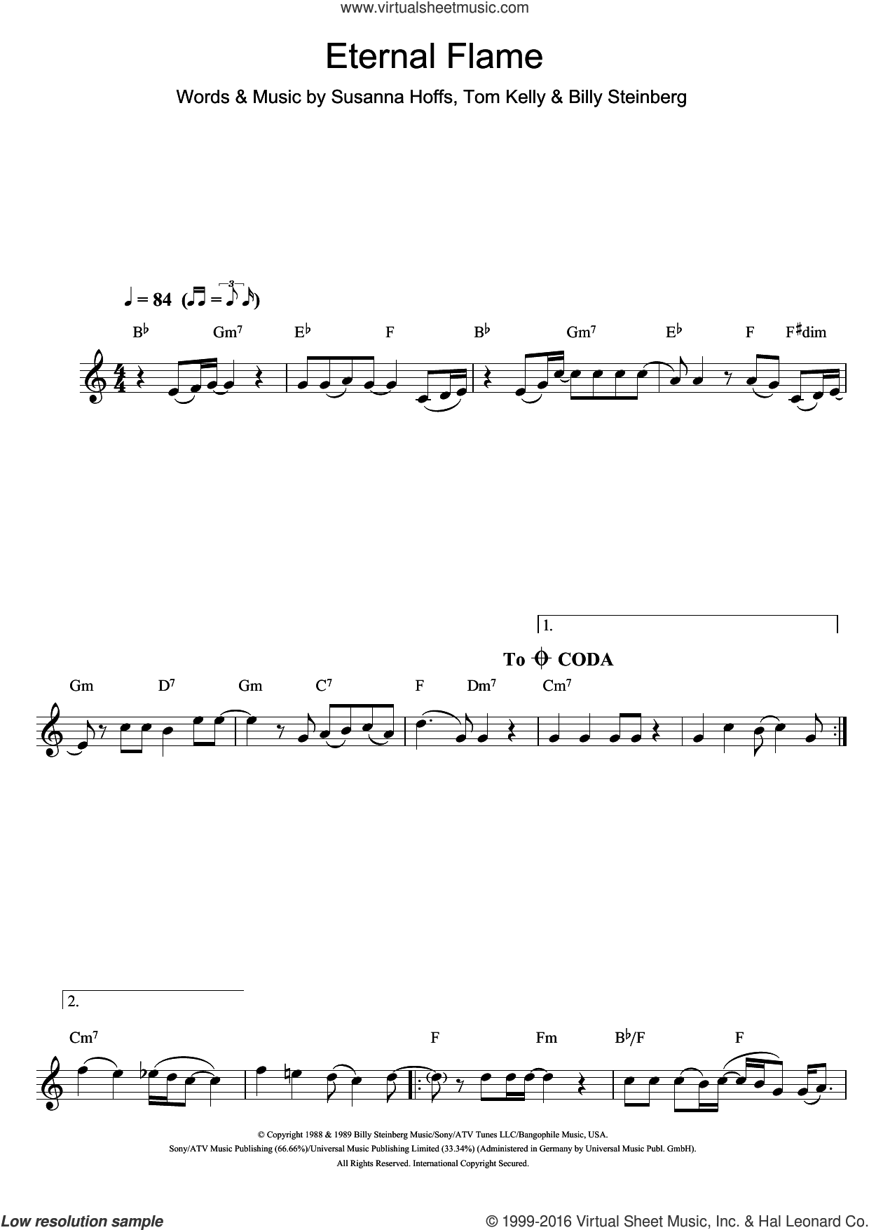 Eternal Flame sheet music for clarinet solo by Atomic Kitten, The Bangles, Billy Steinberg, Susanna Hoffs and Tom Kelly, intermediate skill level