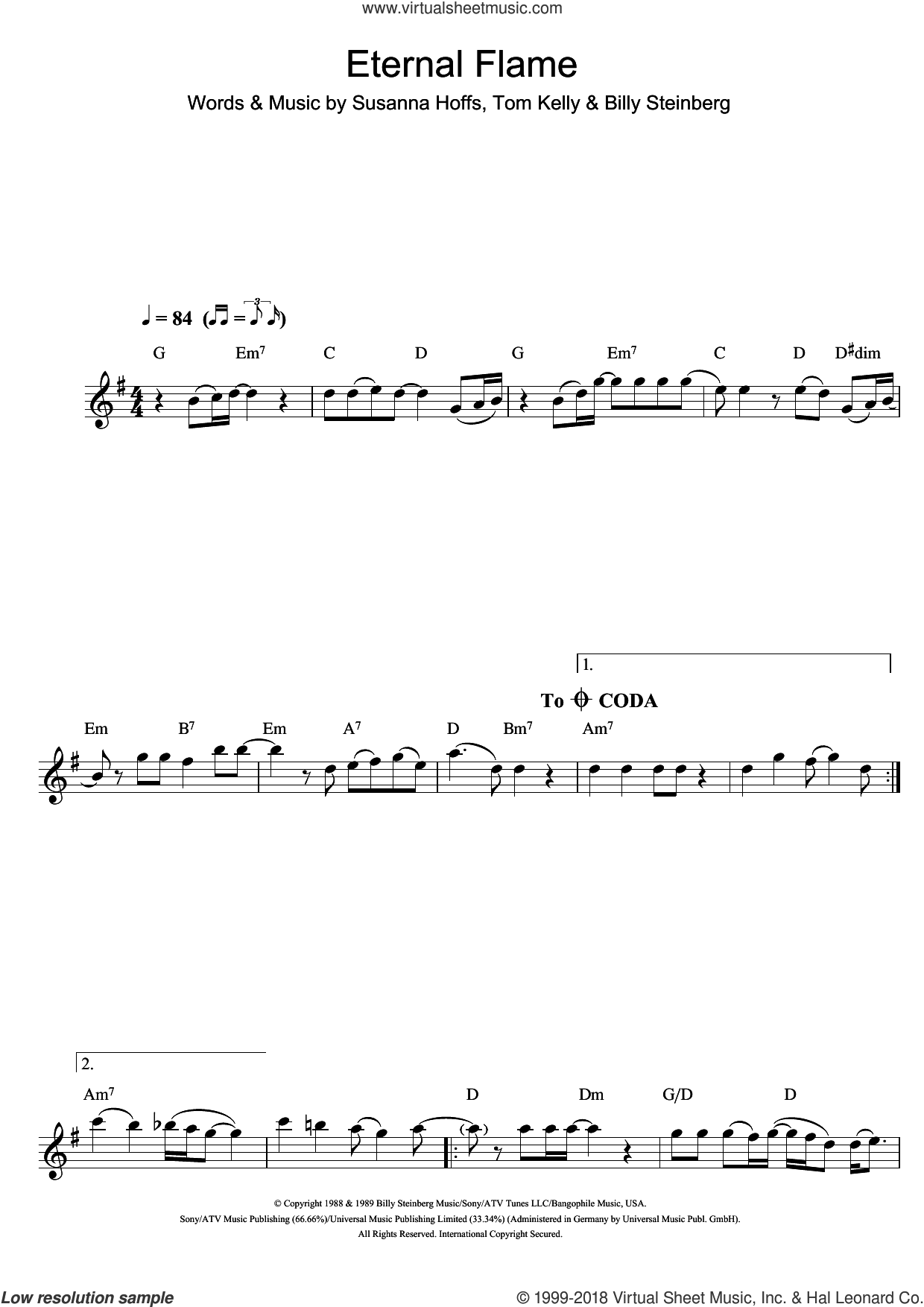 Eternal Flame sheet music for flute solo by Tom Kelly, Atomic Kitten, The Bangles and Billy Steinberg. Score Image Preview.