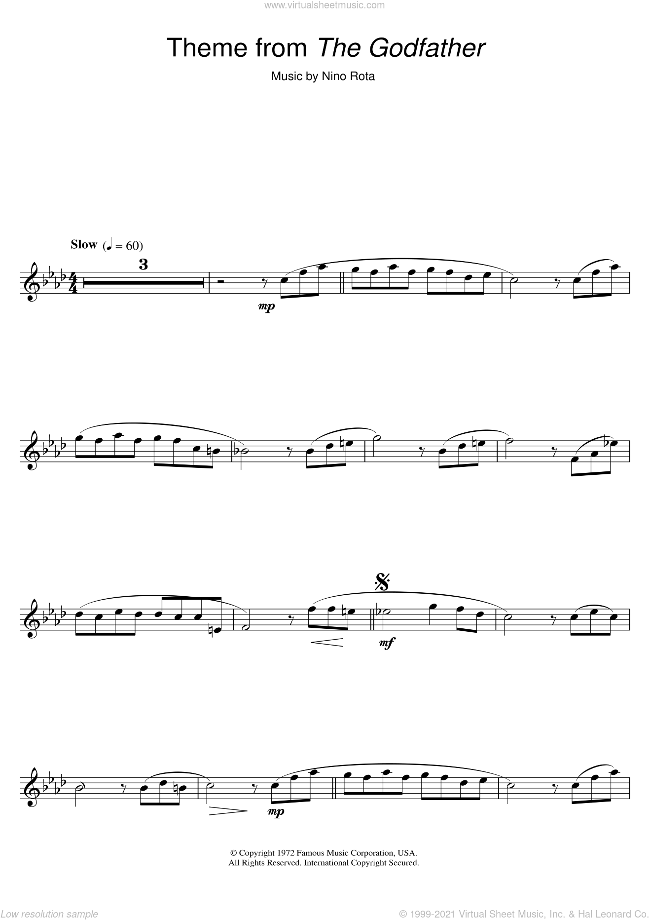 Theme from The Godfather sheet music for flute solo by Nino Rota, intermediate. Score Image Preview.