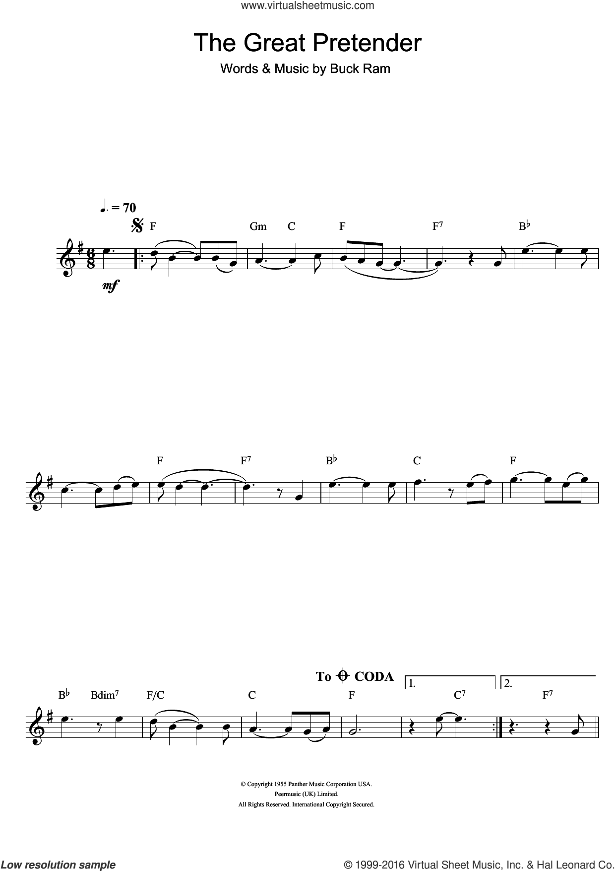 The Great Pretender sheet music for clarinet solo by The Platters and Buck Ram, intermediate skill level