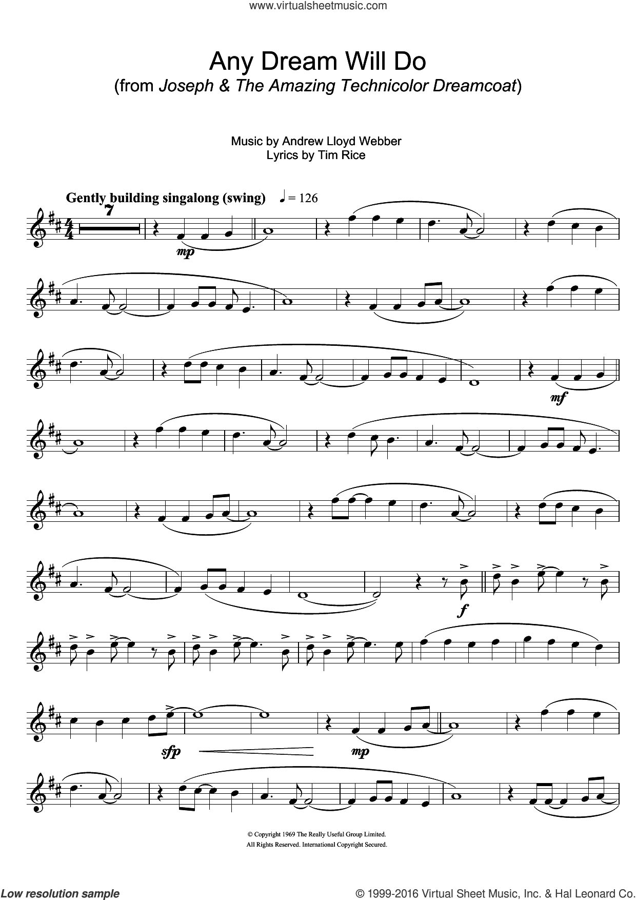 Any Dream Will Do (from Joseph And The Amazing Technicolor Dreamcoat) sheet music for trumpet solo by Tim Rice and Andrew Lloyd Webber. Score Image Preview.