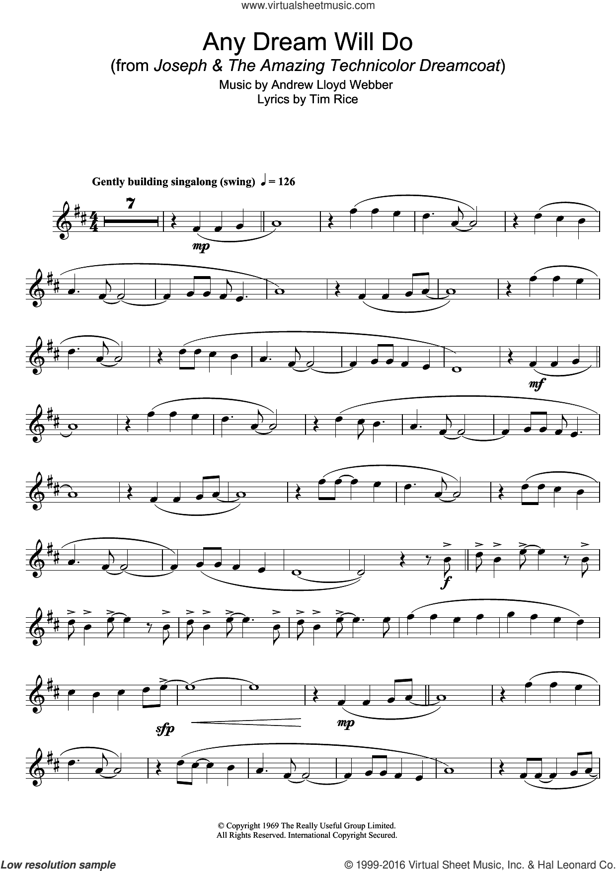 Any Dream Will Do (from Joseph And The Amazing Technicolor Dreamcoat) sheet music for tenor saxophone solo by Andrew Lloyd Webber and Tim Rice, intermediate skill level