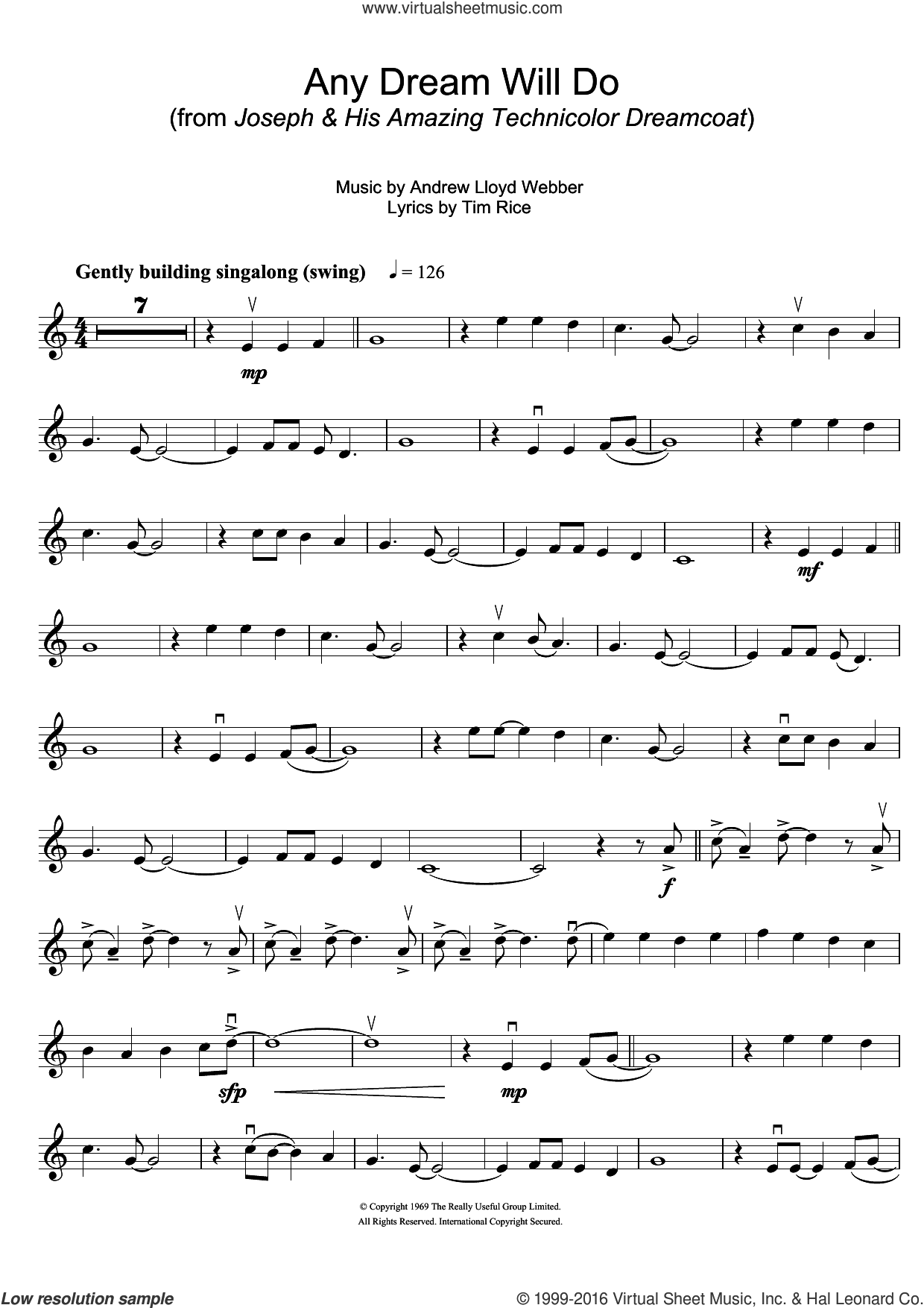 Any Dream Will Do (from Joseph And The Amazing Technicolor Dreamcoat) sheet music for violin solo by Andrew Lloyd Webber and Tim Rice, intermediate violin. Score Image Preview.