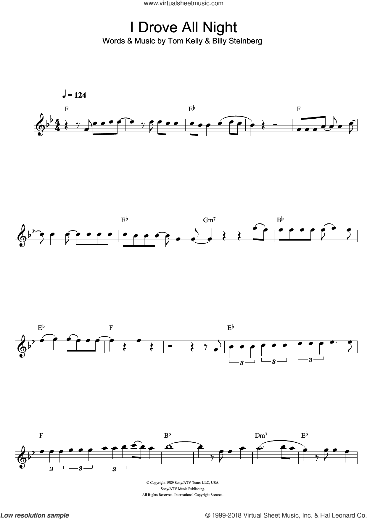 I Drove All Night sheet music for flute solo by Roy Orbison, Billy Steinberg and Tom Kelly, intermediate skill level