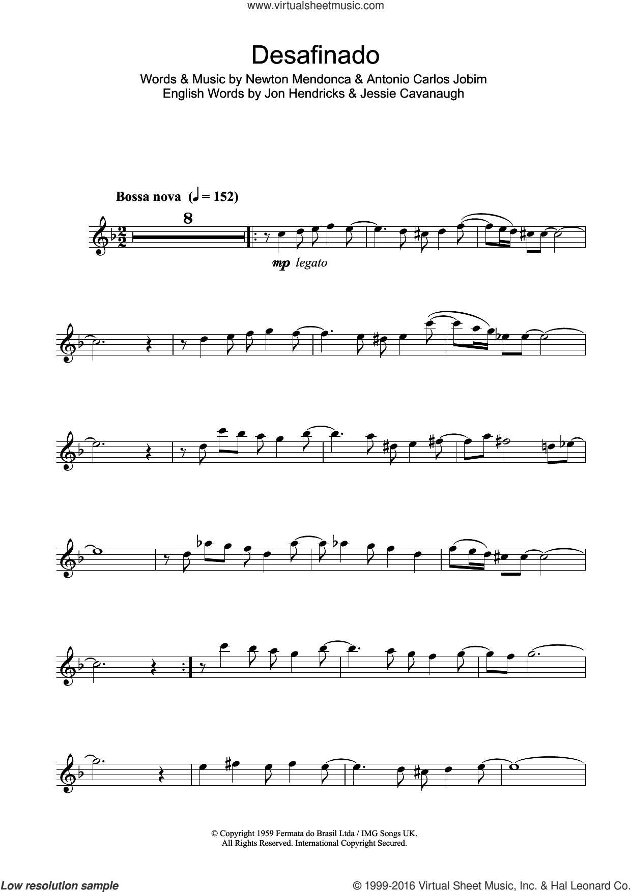 Desafinado (Slightly Out Of Tune) sheet music for tenor saxophone solo by Antonio Carlos Jobim and Jon Hendricks, intermediate tenor saxophone. Score Image Preview.