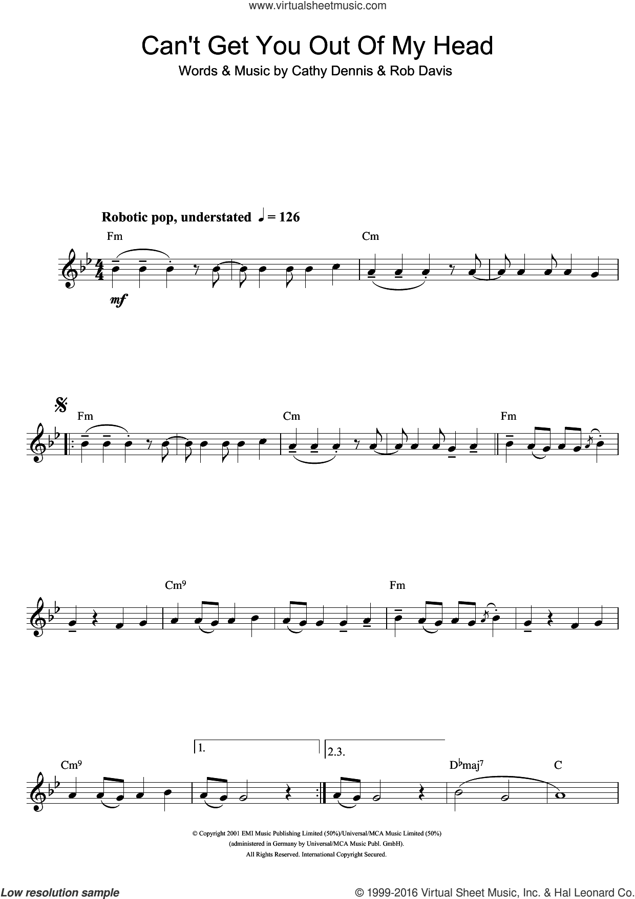 Can't Get You Out Of My Head sheet music for clarinet solo by Kylie Minogue and Cathy Dennis. Score Image Preview.