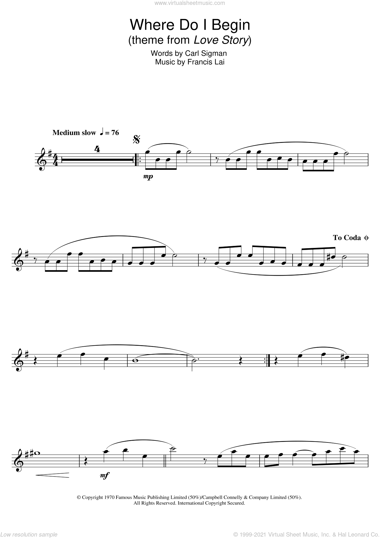 Where Do I Begin (theme from Love Story) sheet music for clarinet solo by Francis Lai and Carl Sigman, intermediate skill level