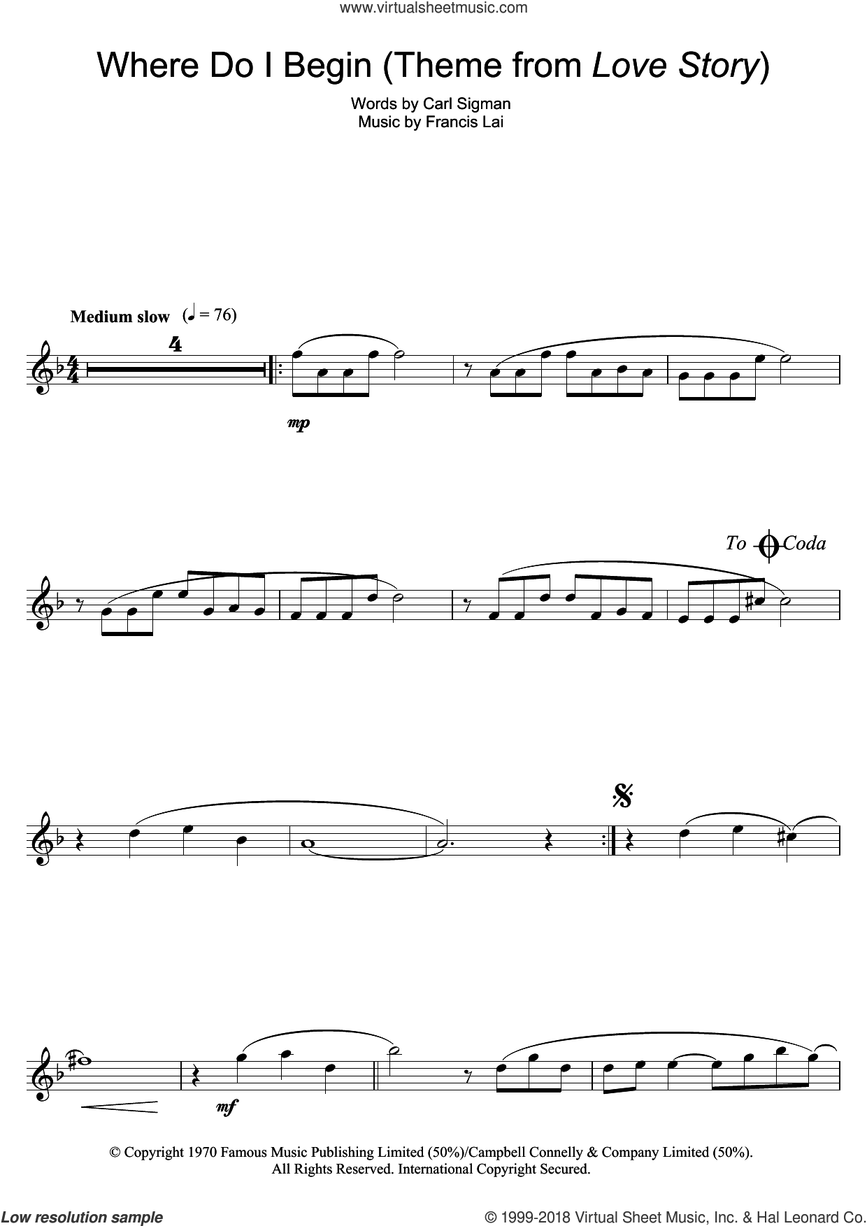 Where Do I Begin (theme from Love Story) sheet music for flute solo by Carl Sigman and Francis Lai. Score Image Preview.