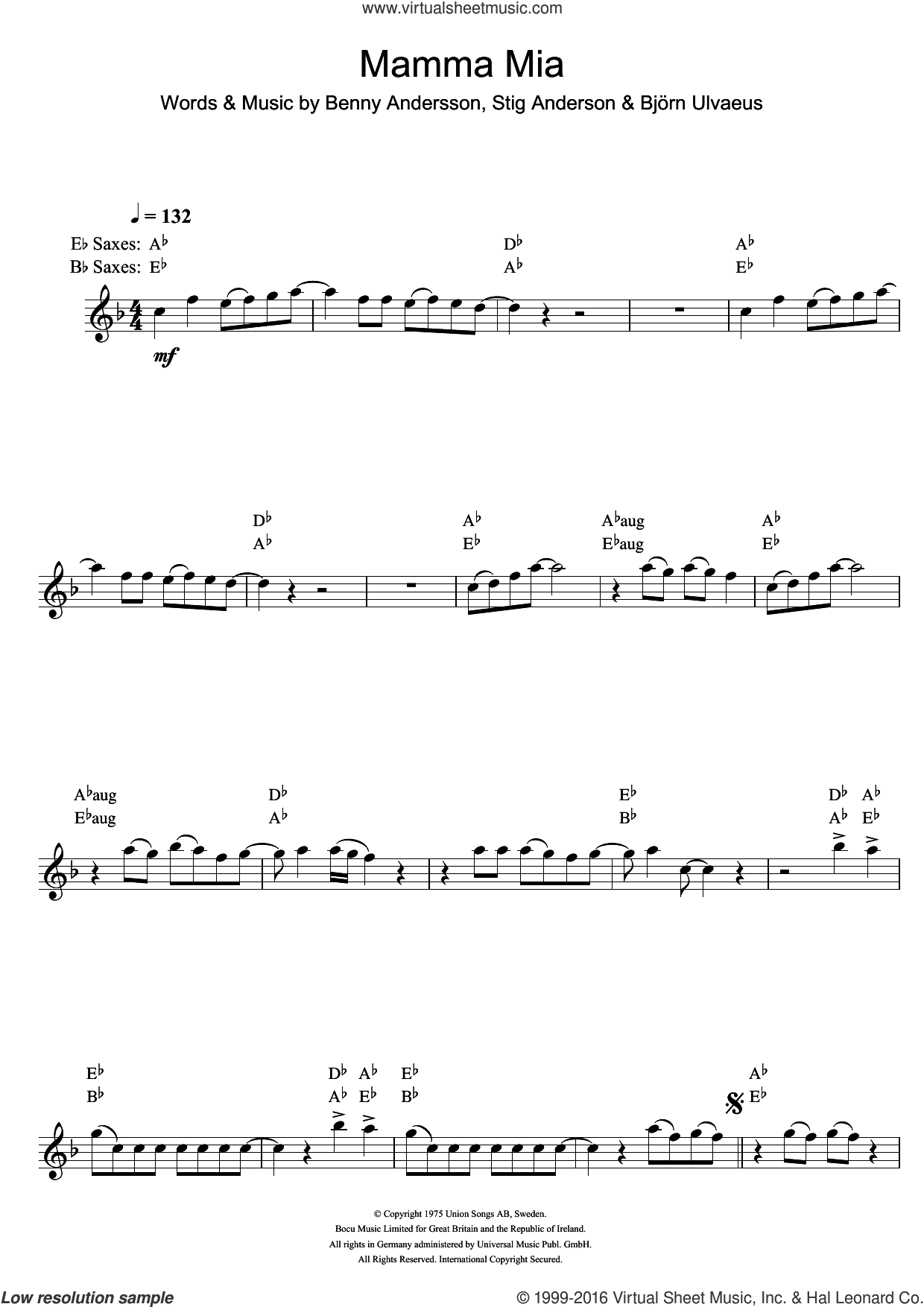 Mamma Mia sheet music for saxophone solo by ABBA, Benny Andersson, Bjorn Ulvaeus and Stig Anderson. Score Image Preview.