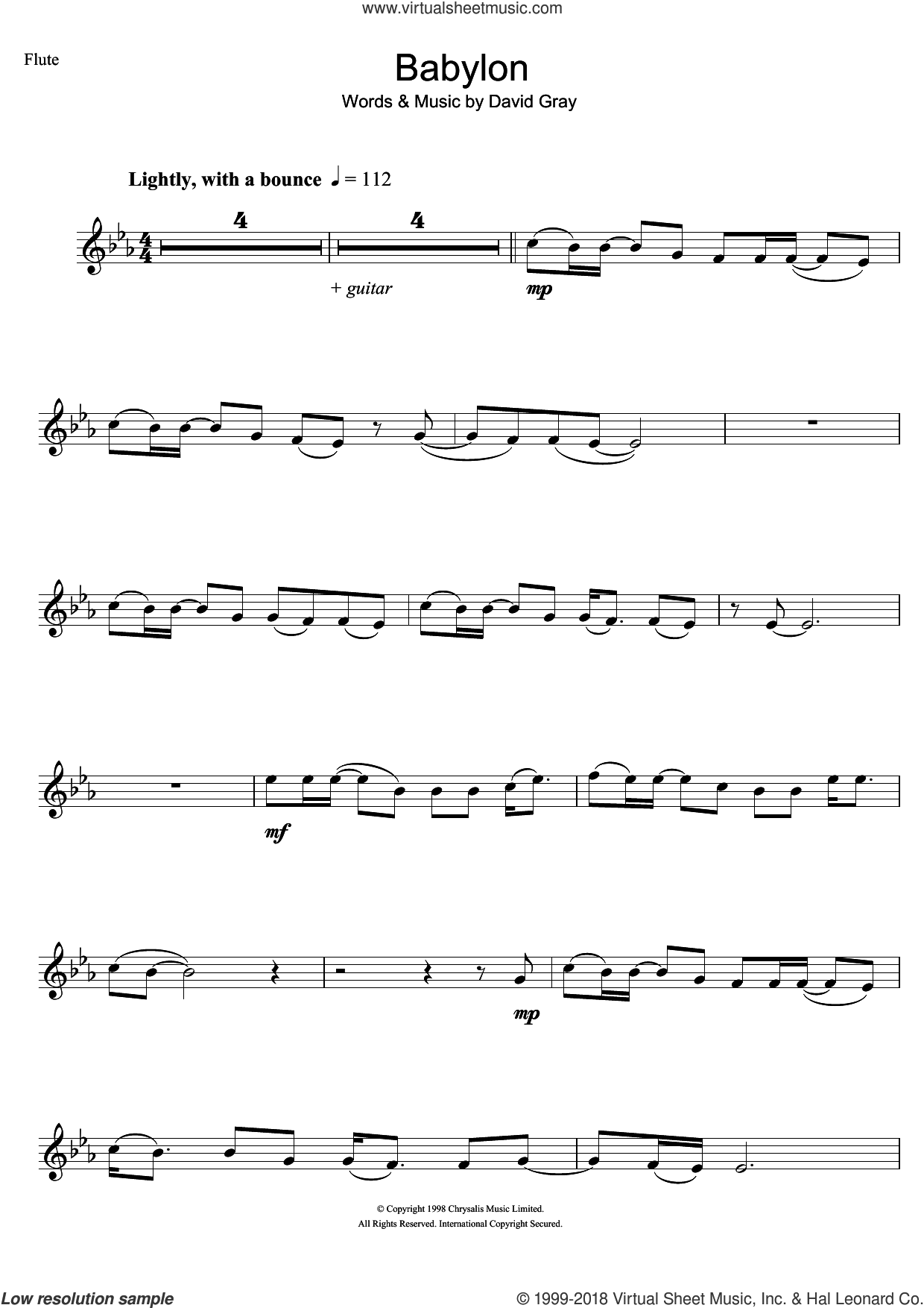 Babylon sheet music for flute solo by David Gray. Score Image Preview.