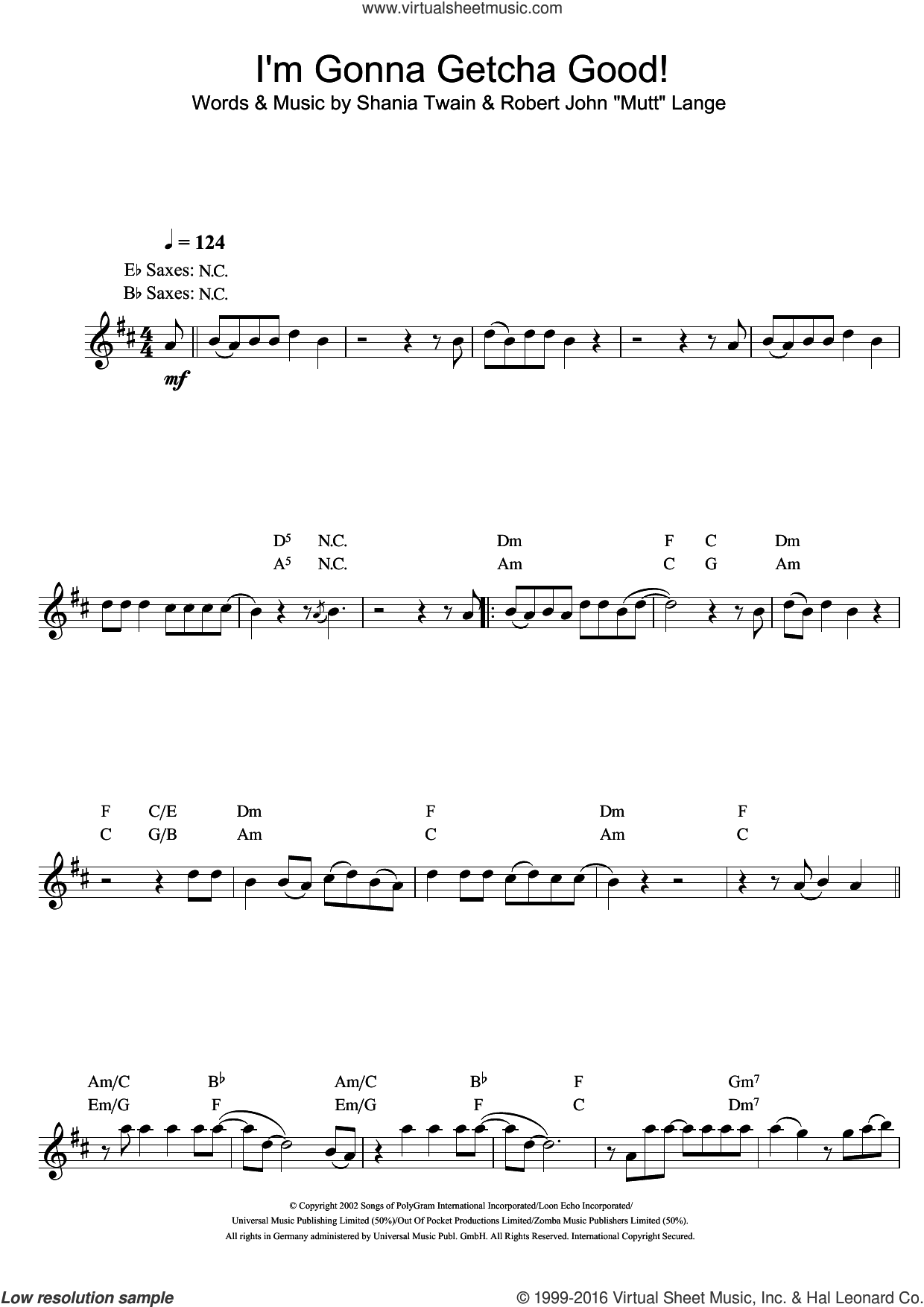 I'm Gonna Getcha Good! sheet music for saxophone solo by Shania Twain and Robert John Lange, intermediate. Score Image Preview.